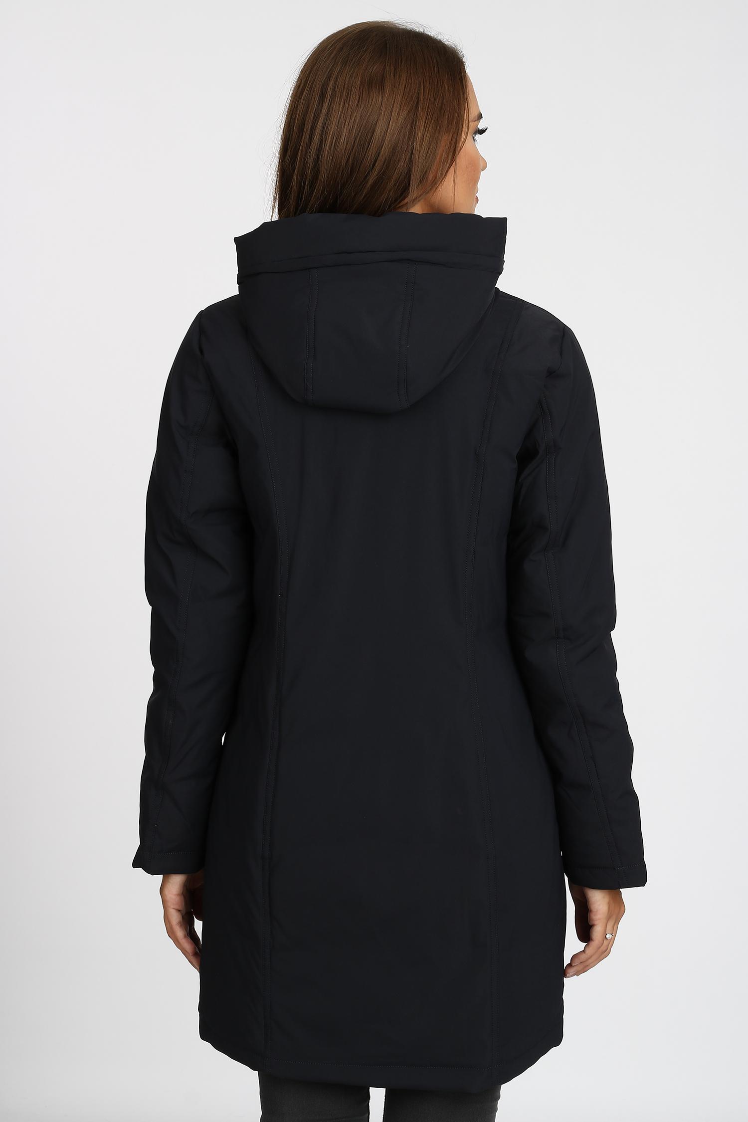 Пуховик женский из текстиля с капюшоном, без отделки
