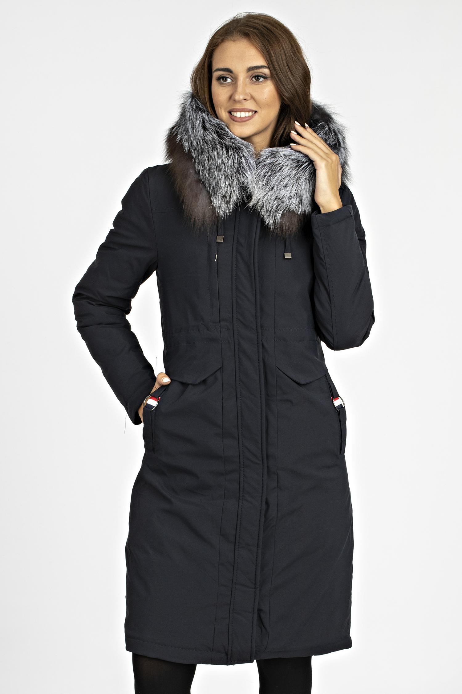Купить со скидкой Пуховик женский из текстиля с капюшоном, отделка чернобурка