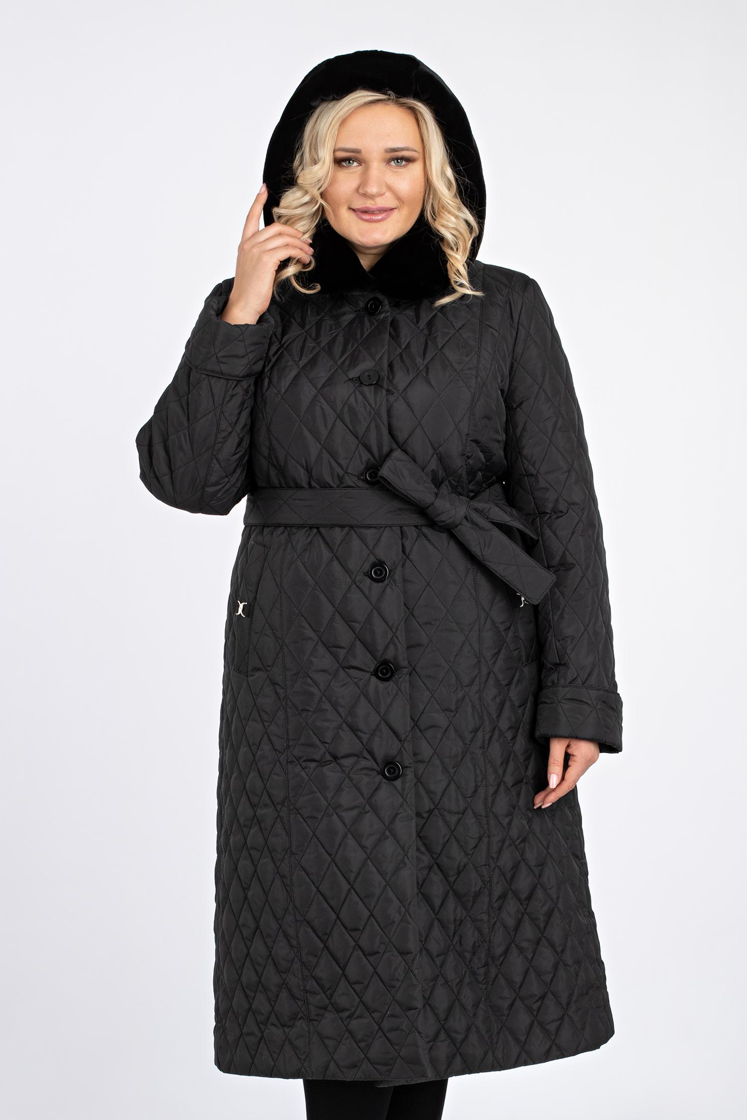 Купить со скидкой Пуховик женский из текстиля с капюшоном, отделка искусственный мех