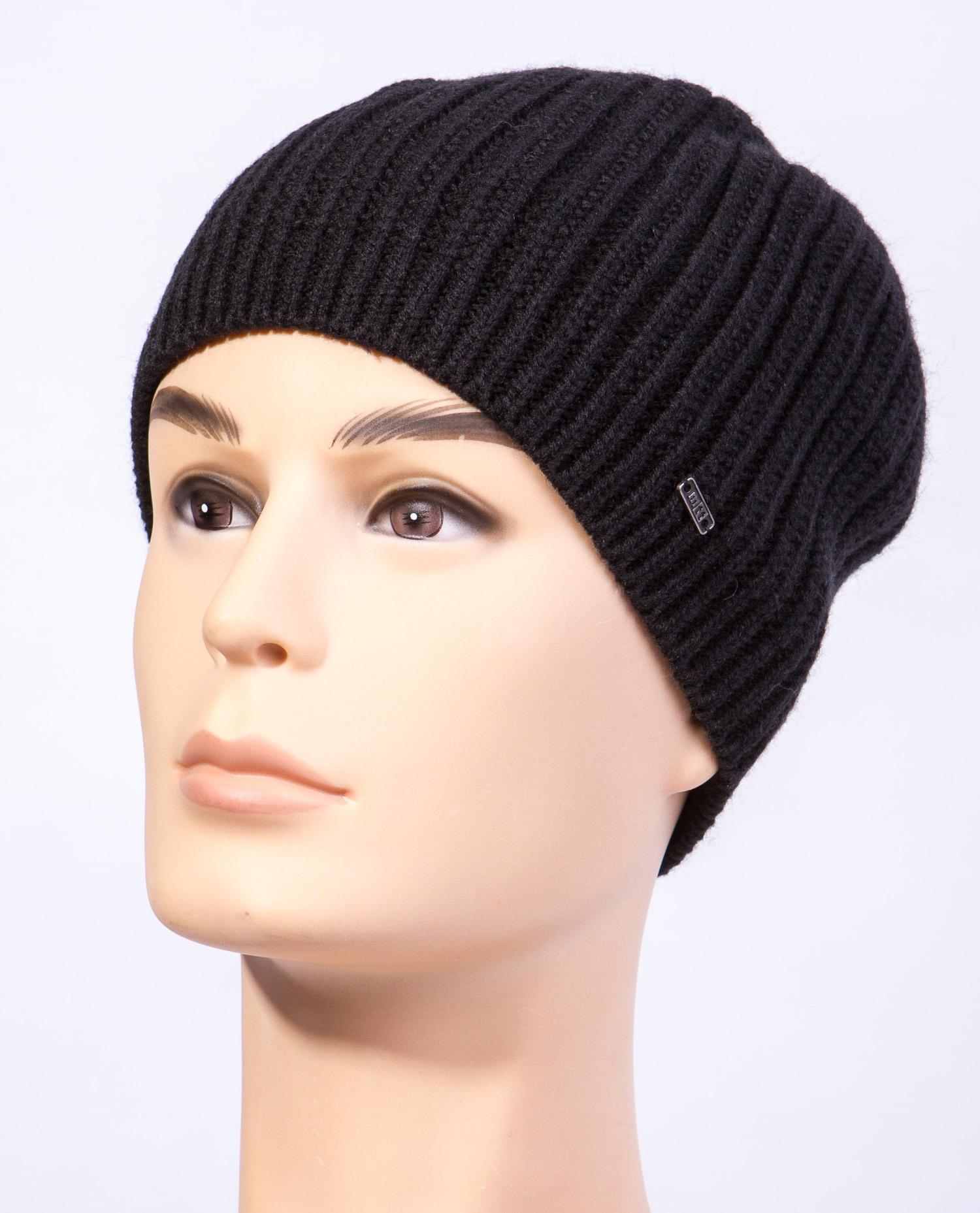 Купить Шапку мужская из текстиля от МОСМЕХА черного цвета