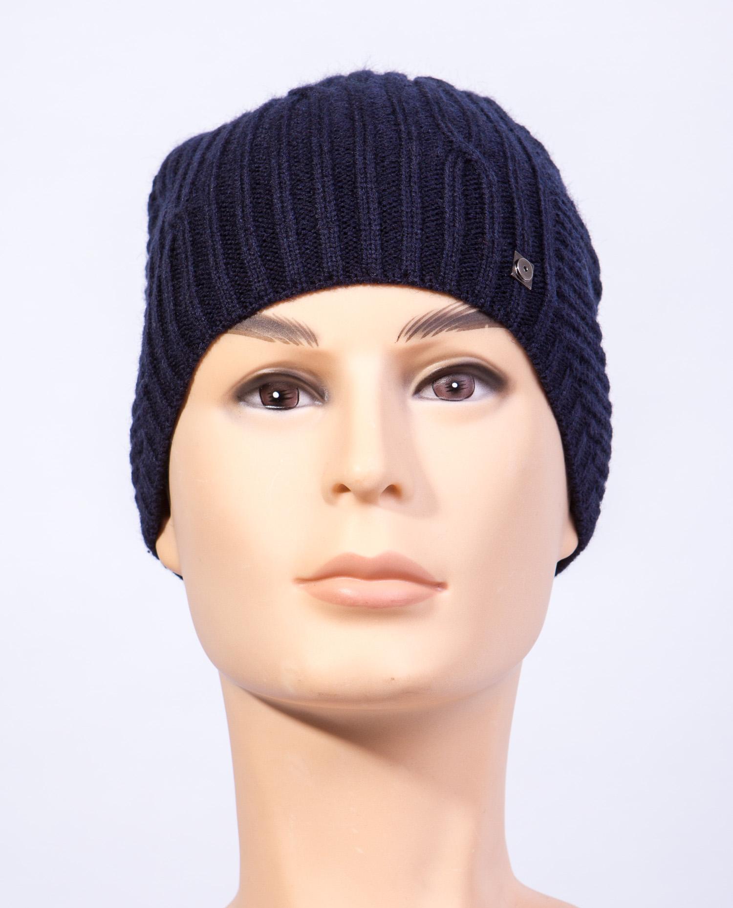 Купить Шапку мужская из текстиля от МОСМЕХА синего цвета