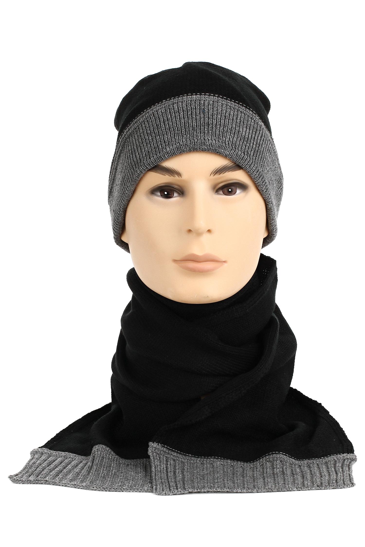 Купить Шапка мужская и шарф из трикотажа, МОСМЕХА, черный, 0602491