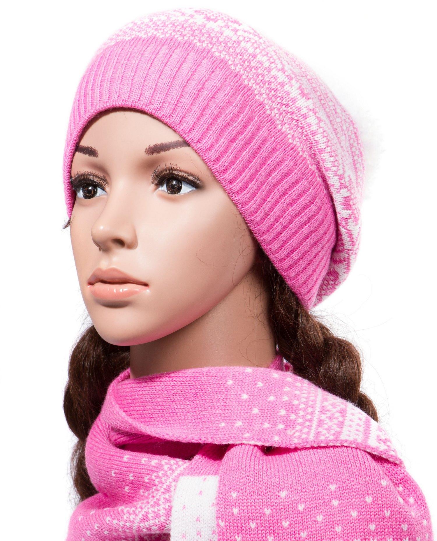 Купить Шапка женская из трикотажа с шарфом, МОСМЕХА, розовый, Трикотаж, 0601592
