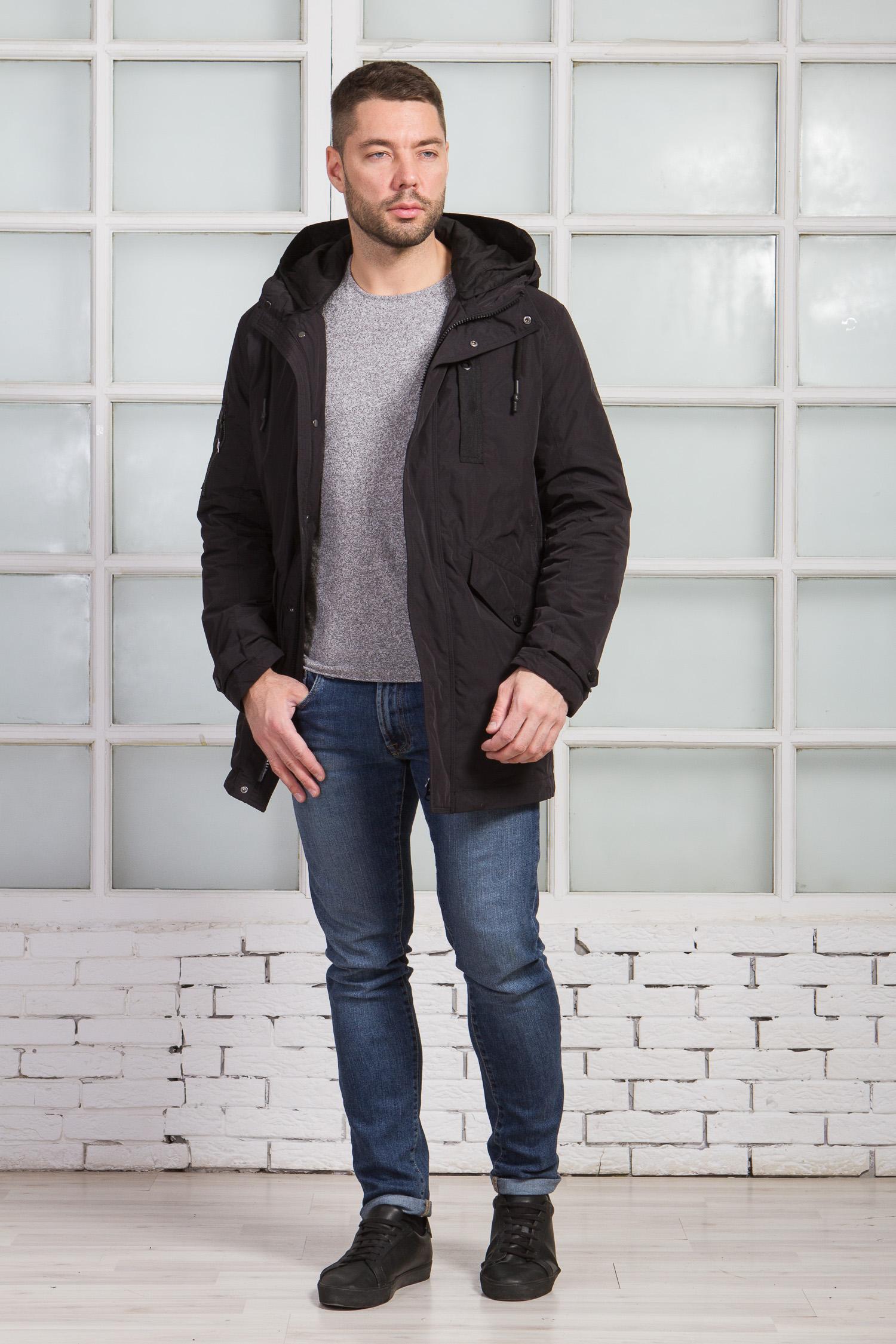 Мужская куртка из текстиля с капюшоном, без отделки, , Полупальто