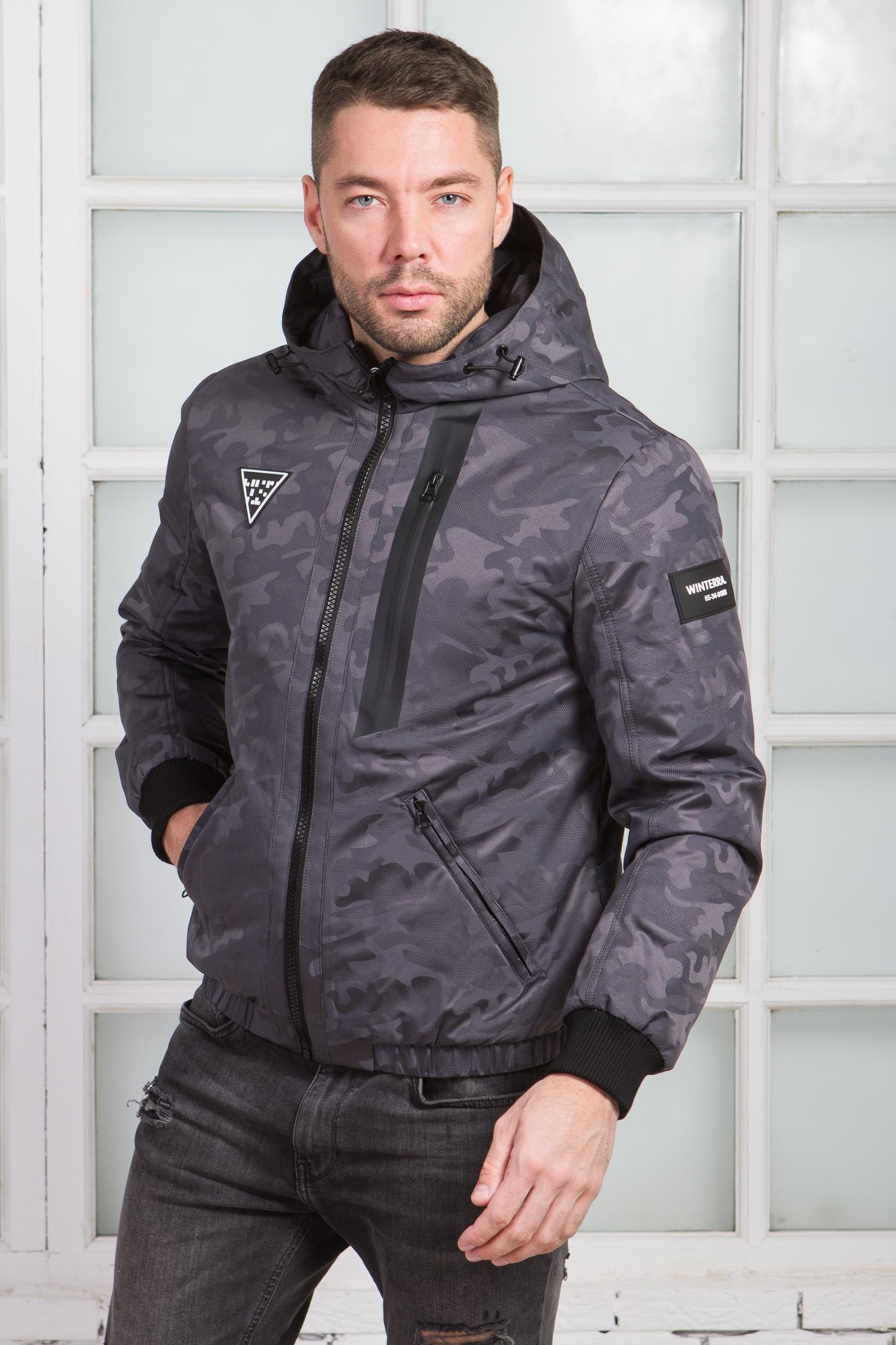 Купить Мужская куртка из текстиля с капюшоном, без отделки, МОСМЕХА, серый, Текстиль, 1000413