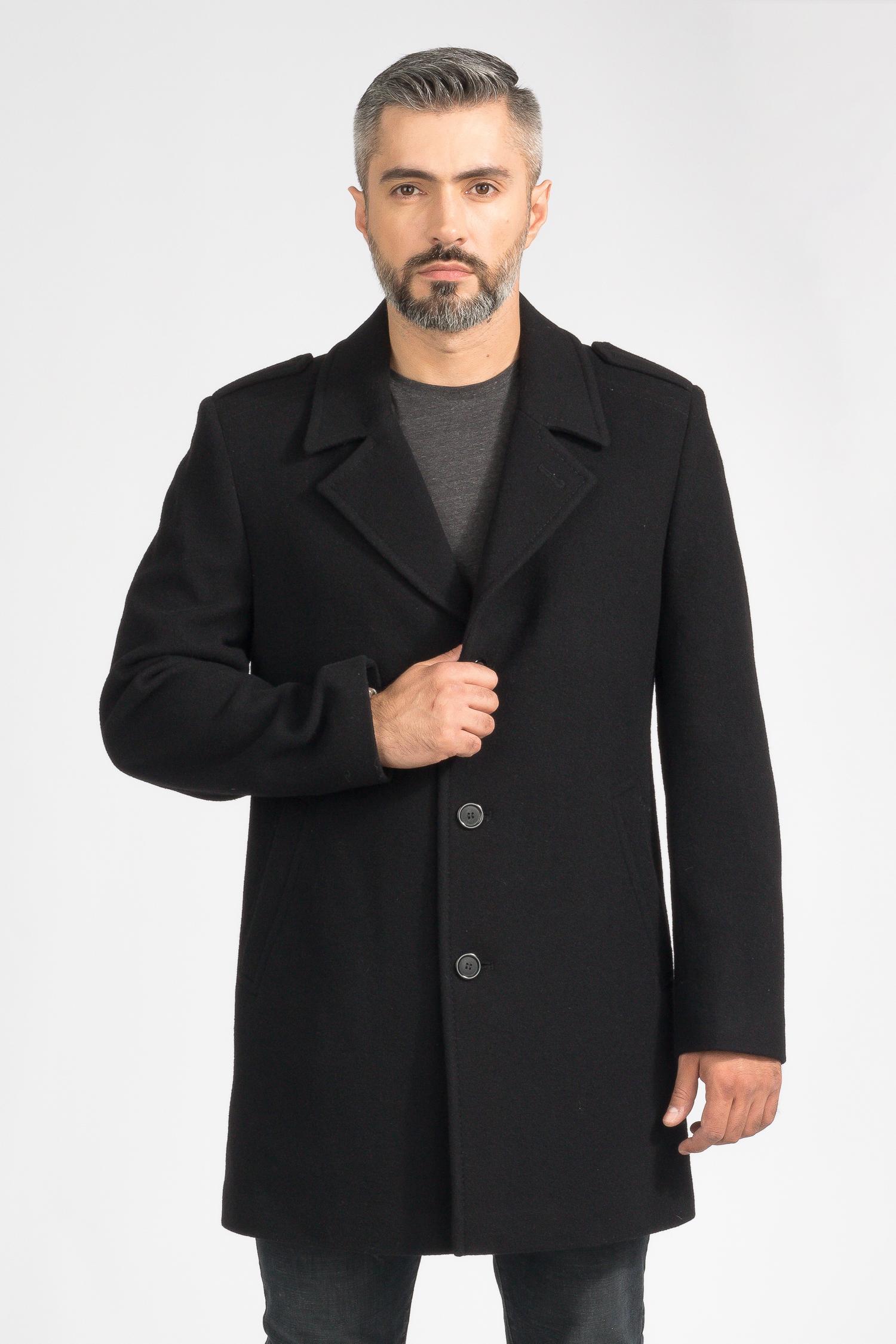 Купить Мужское пальто из текстиля с воротником, без отделки, МОСМЕХА, черный, Комбинированный состав, 3000678