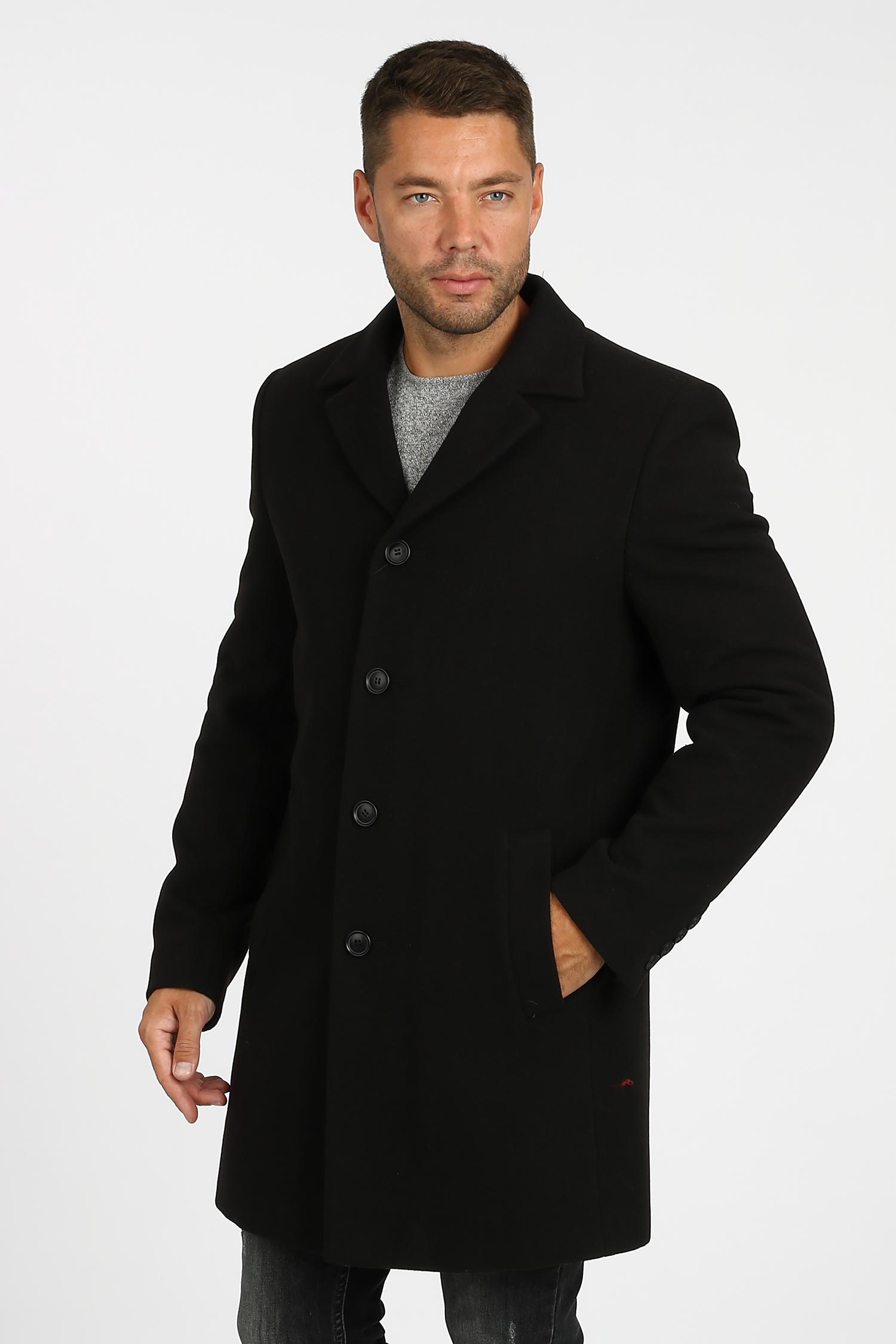 Купить со скидкой Мужское пальто из текстиля с воротником, без отделки