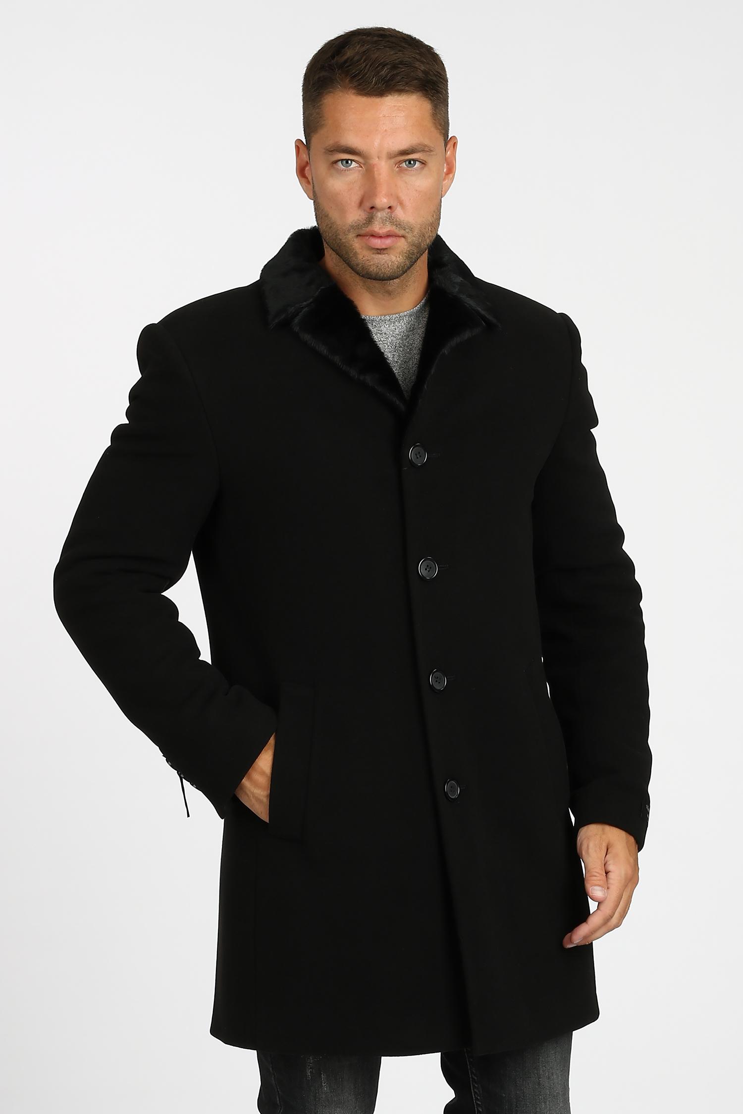 Мужское пальто из текстиля с воротником, отделка искусственный мех