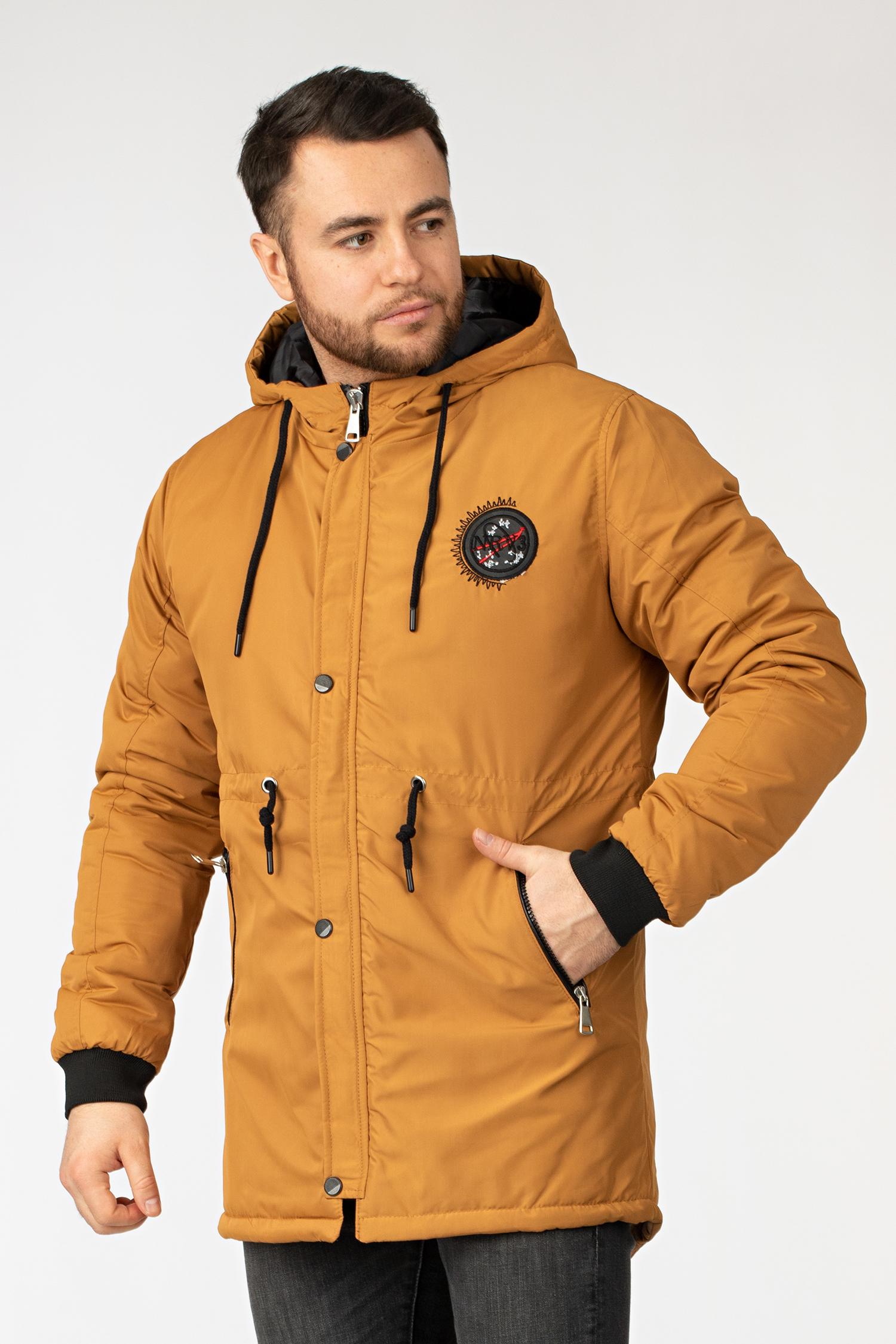 Купить Парка мужская из текстиля с капюшоном, без отделки, МОСМЕХА, горчичный, Текстиль, 4100034
