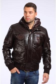 Куртка из натуральной кожи с капюшоном, отделка искусственный мех