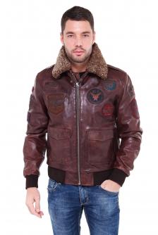Куртка из натуральной кожи с воротником, отделка овчина