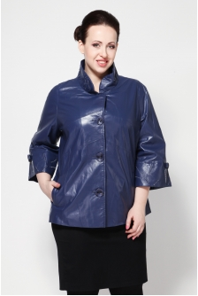 Куртка женская из натуральной кожи с воротником, без отделки