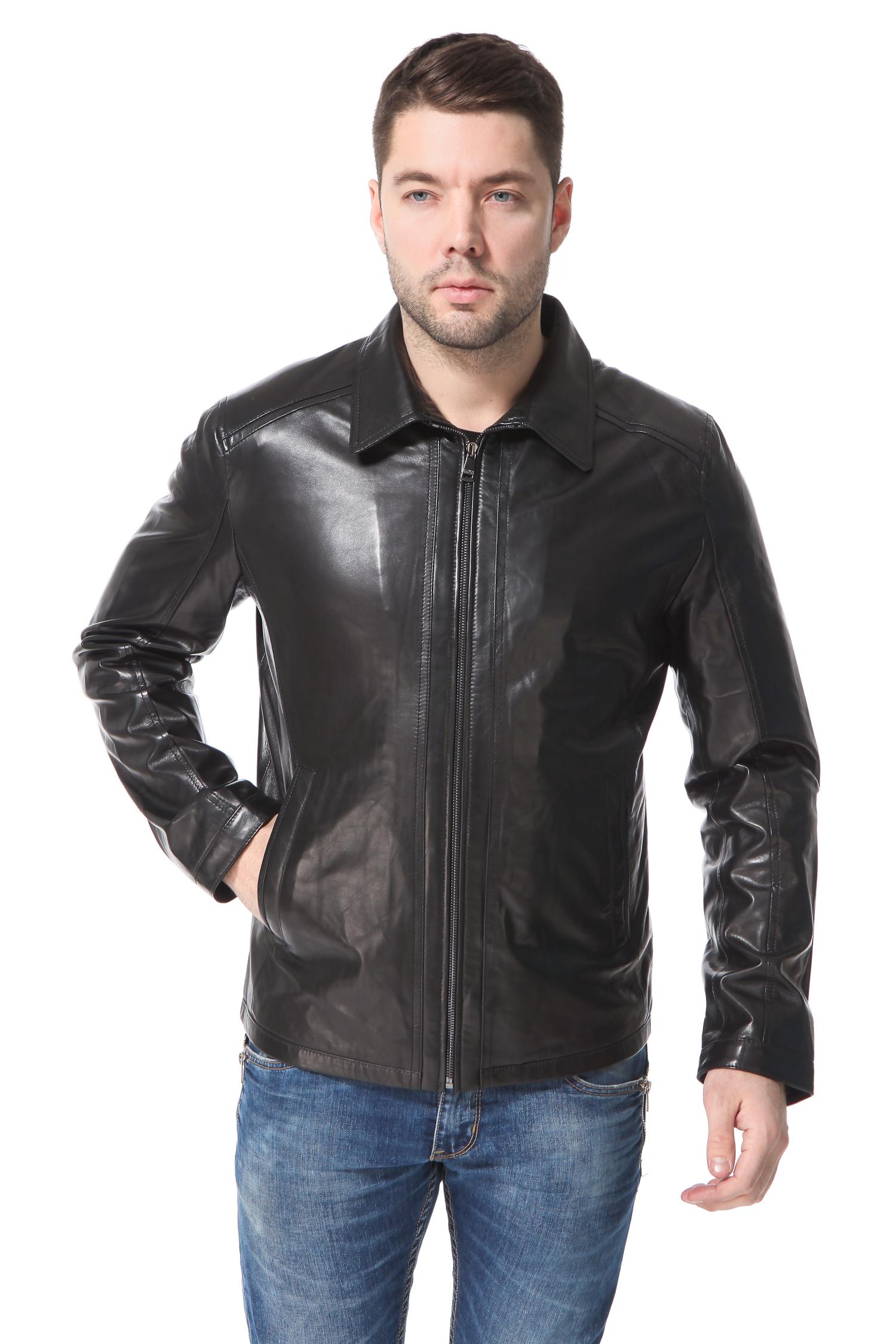 Мужская кожаная куртка из натуральной кожи<br><br>Длина см: Короткая (51-74 )<br>Материал: Кожа овчина<br>Цвет: черный<br>Застежка: на молнии<br>Пол: Мужской<br>Размер RU: 60