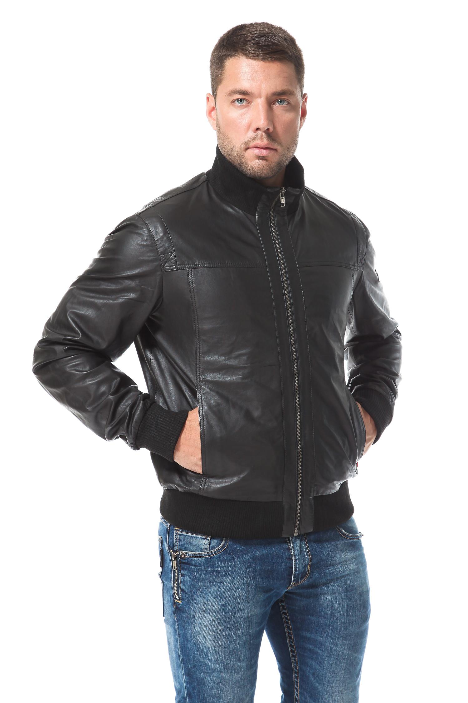 Мужская кожаная куртка из натуральной кожиЦвет  угольно черный.<br><br>Куртка изготовлена из специально выделанной кожи молодого ягненка - ПЛОНЖЕ. Подкладка выполнена из полиэстера.<br><br>Плотная трикотажная резинка нижнего края изделия, а так же воротника и манжет, поможет ощущать себя очень уютно и комфортно, одновременно являясь на протяжении нескольких сезонов актуальным трендом. Крой построен на прямых, геометричных линиях. Лаконичный силуэт, минимум деталей - данная модель выгодно отличается практичностью ифункциональностью.<br><br>Воротник: стойка<br>Длина см: Короткая (51-74 )<br>Материал: Кожа овчина<br>Цвет: черный<br>Пол: Мужской<br>Размер RU: 46