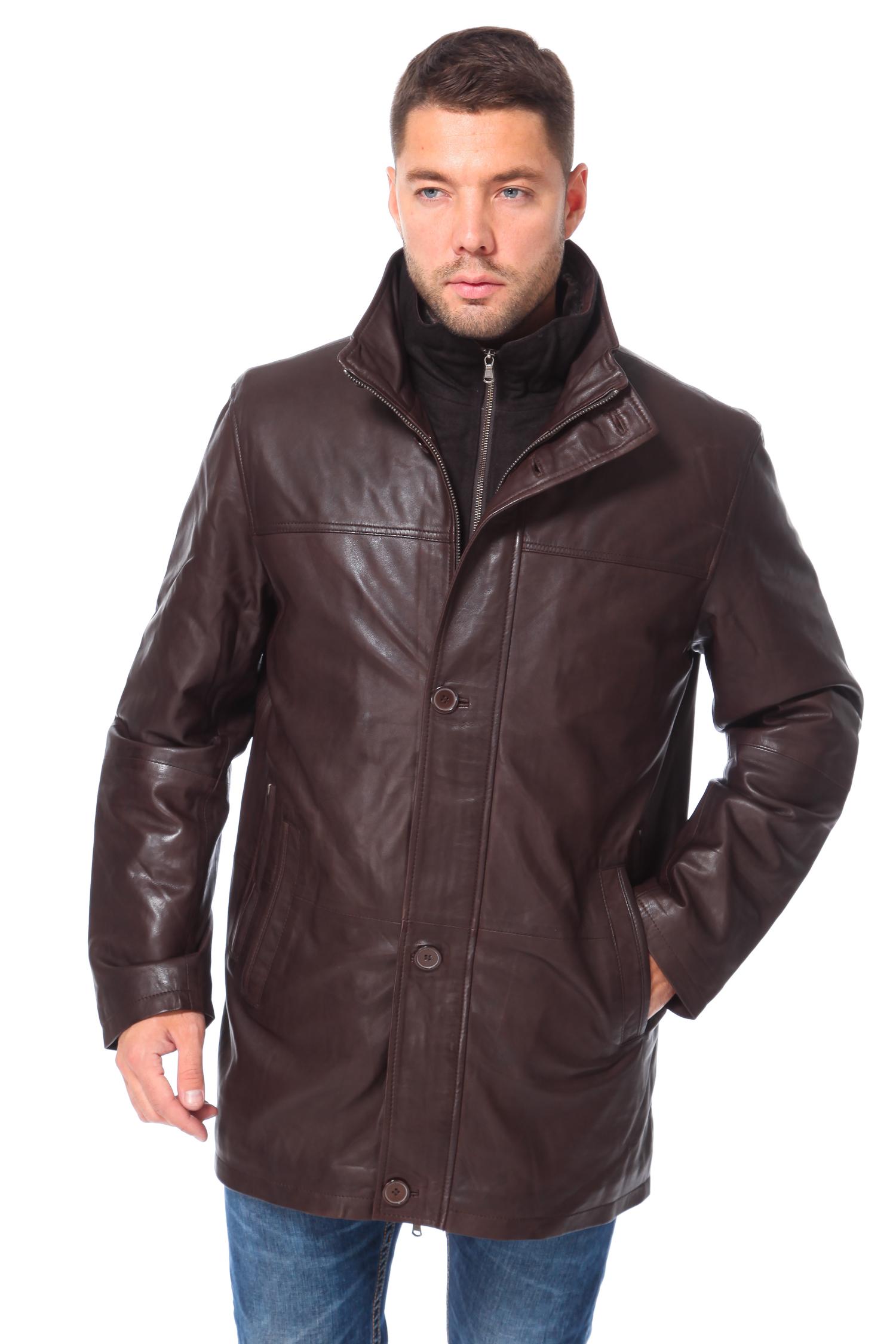 Мужская кожаная куртка из натуральной кожи с воротником, без отделкиЦвет  глубокий коричневый.<br><br>Куртка сшита из высококачественной натуральной кожи. В качестве утеплителя использован синтепон.<br><br>Модель является неким симбиозом элегантности ипрактичности благодаря глубокому цвету, лаконичному, прямому силуэту и минимуму деталей. Трудно переоценить модель, отличное качество и универсальный фасон которой позволят носить ее в течение нескольких сезонов. Крой модели гарантирует идеальную посадку, визуально расширяет линию плеч и сужает линию бедра, что делает силуэт еще более мужественным. Глухой воротник стойка, наряду с ветрозащитной планкой на пуговицах, закрывающей молнию застежки, создают надежный барьер на пути холода и ветра.Классический и одновременно оригинальный фасон модели еще долго будет находиться на пике моды, поэтому изделие вы сможете носить несколько сезонов. Эта статусная вещь подчеркнет великолепный вкус ее обладателя.<br><br>Воротник: Стойка<br>Длина см: 80<br>Материал: Натуральная кожа<br>Цвет: Коричневый<br>Застежка: Синтепон<br>Пол: Мужской