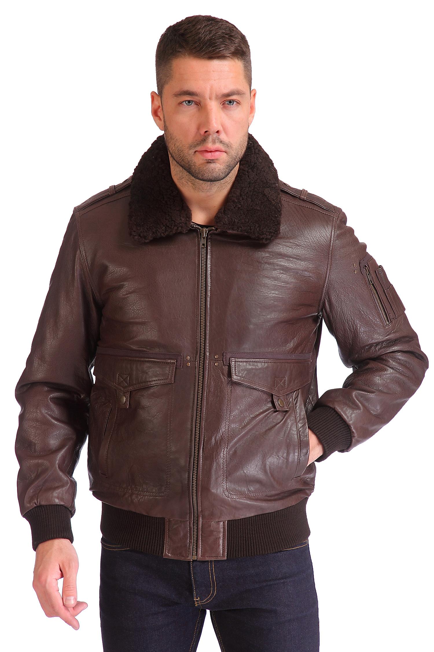 Мужская кожаная куртка из натуральной кожи утепленная, отделка овчина<br><br>Длина см: Короткая (51-74 )<br>Материал: Кожа овчина<br>Цвет: коричневый<br>Пол: Мужской<br>Размер RU: 48