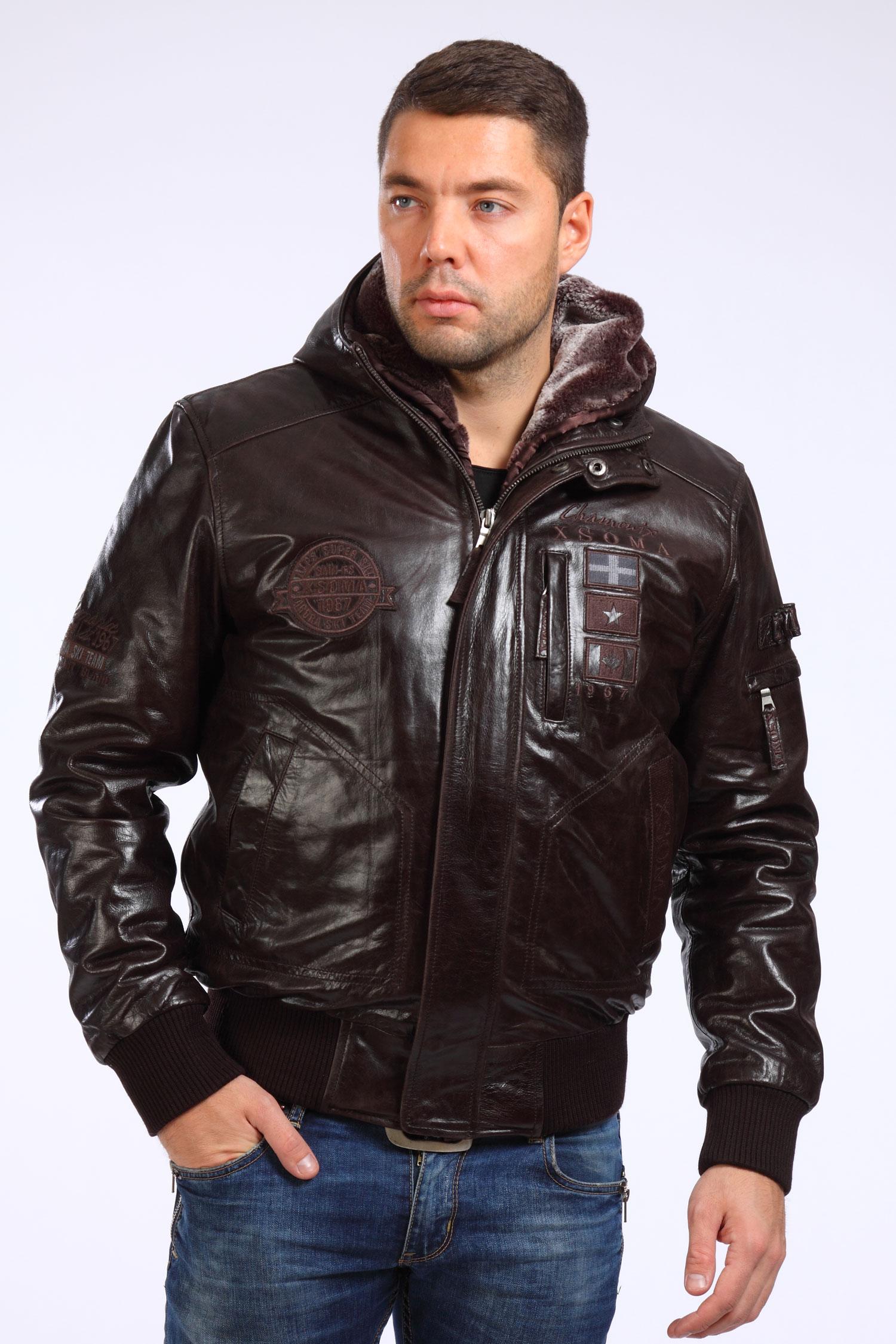 Мужская кожаная куртка из натуральной кожи утепленная с капюшоном, отделка искусственный мех