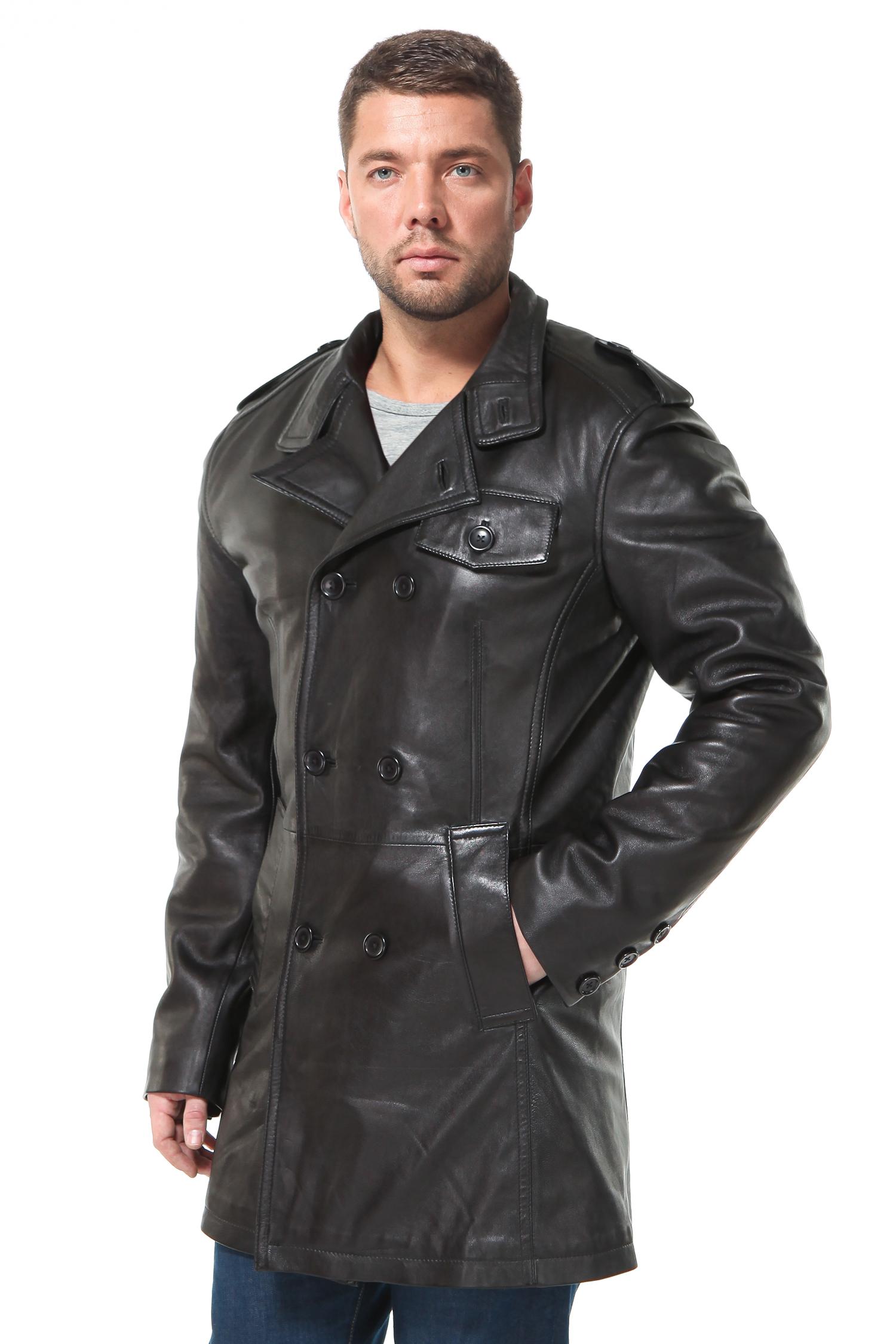 Мужская кожаная куртка из натуральной кожи с вортником, без отделки
