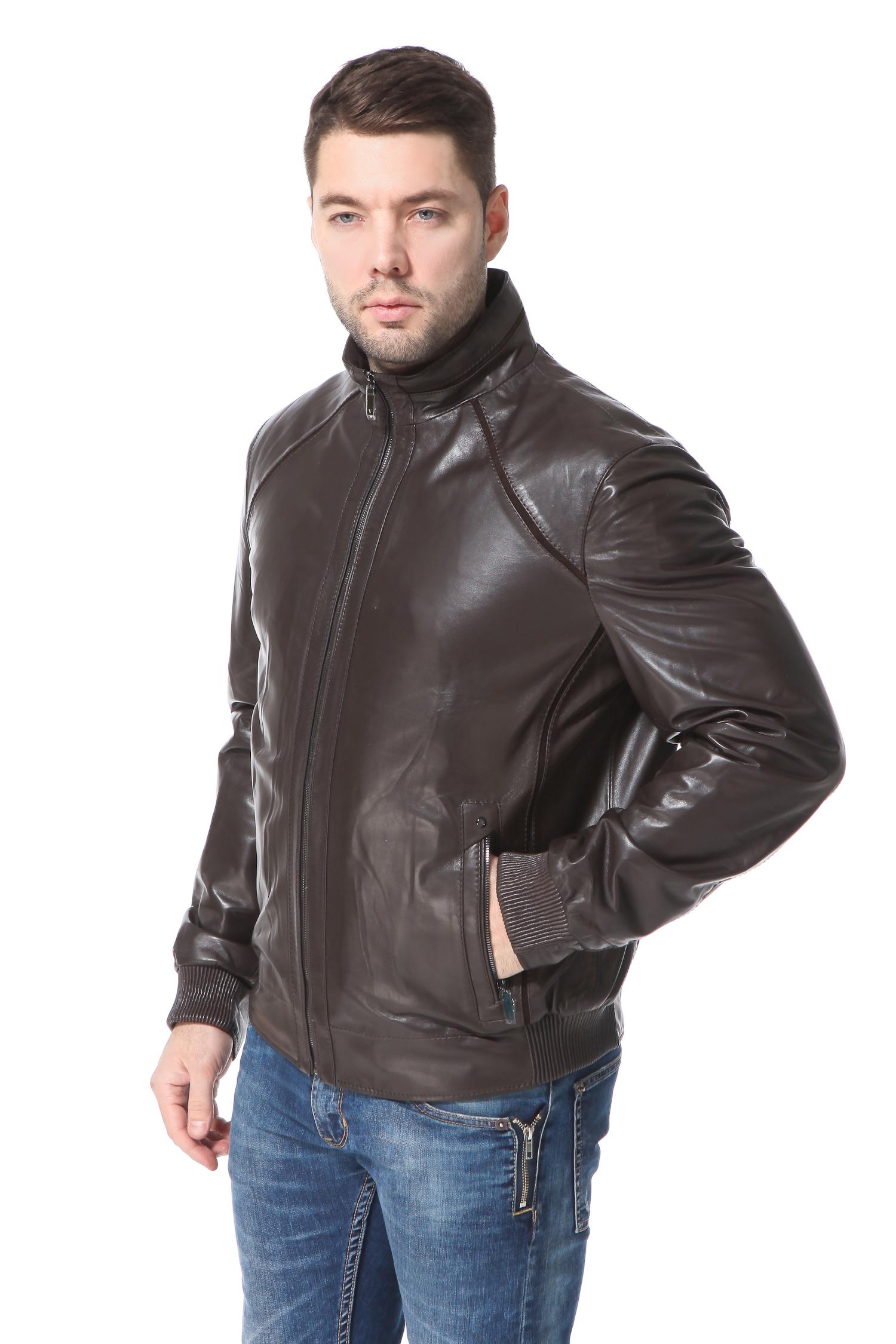 Мужская кожаная куртка из натуральной кожи<br><br>Воротник: стойка<br>Длина см: Короткая (51-74 )<br>Материал: Кожа овчина<br>Цвет: коричневый<br>Застежка: на молнии<br>Пол: Мужской<br>Размер RU: 56