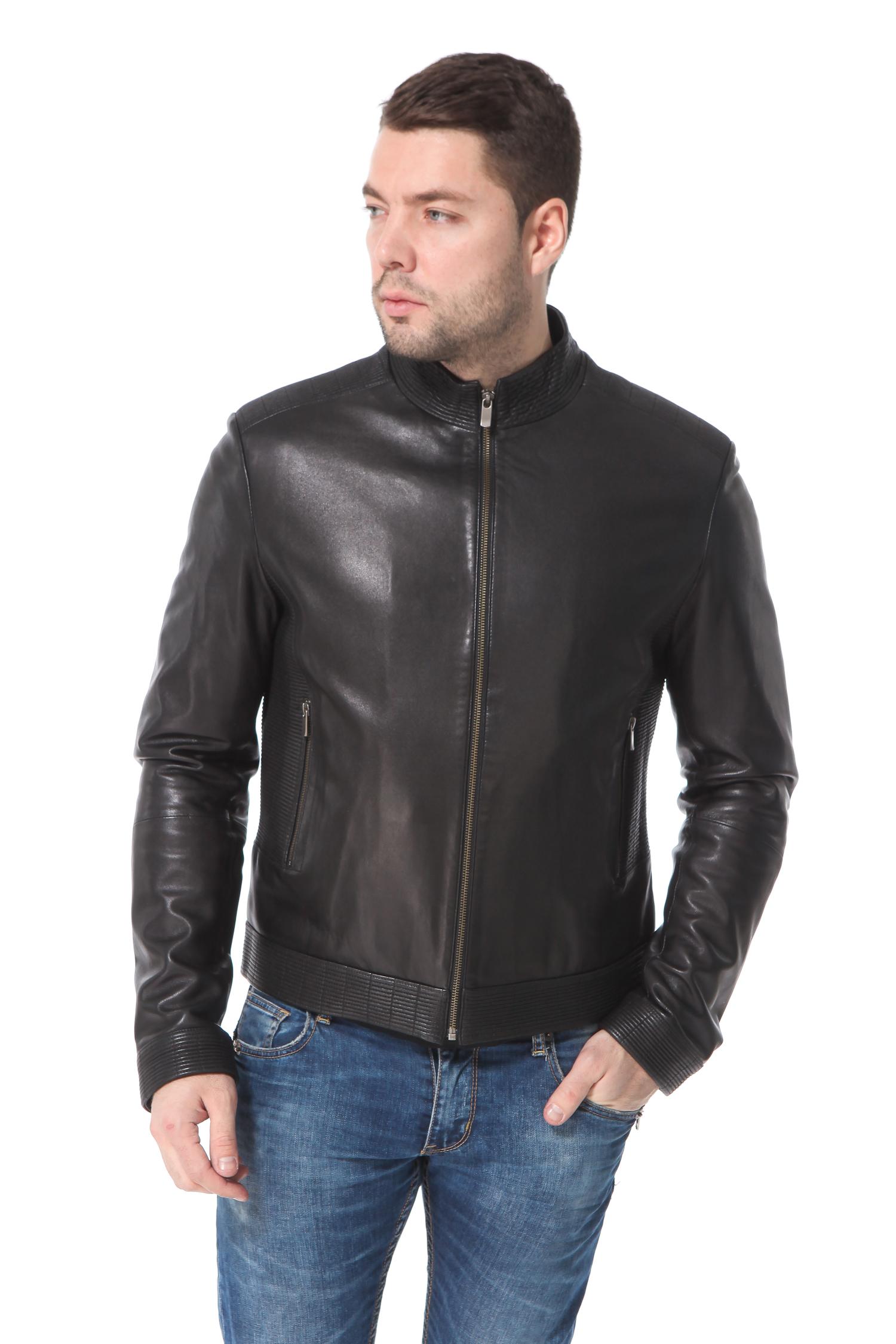 Мужская кожаная куртка из натуральной кожи с воротником, без отделки<br><br>Воротник: Стойка<br>Длина см: 65<br>Материал: Плонже<br>Цвет: Черный<br>Пол: Мужской