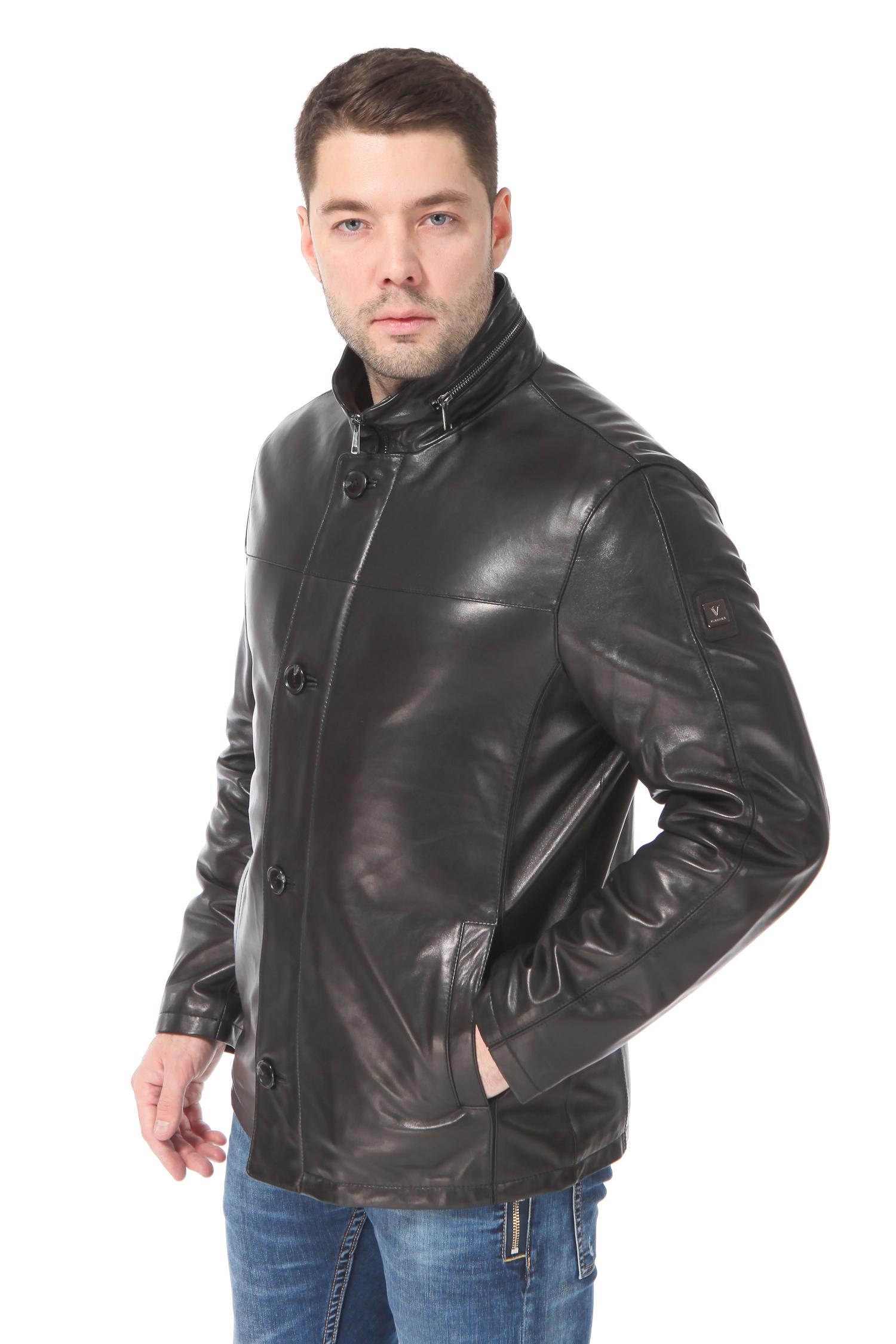 Мужская кожаная куртка из натуральной кожи<br><br>Воротник: стойка<br>Длина см: Короткая (51-74 )<br>Материал: Кожа овчина<br>Цвет: черный<br>Пол: Мужской<br>Размер RU: 56