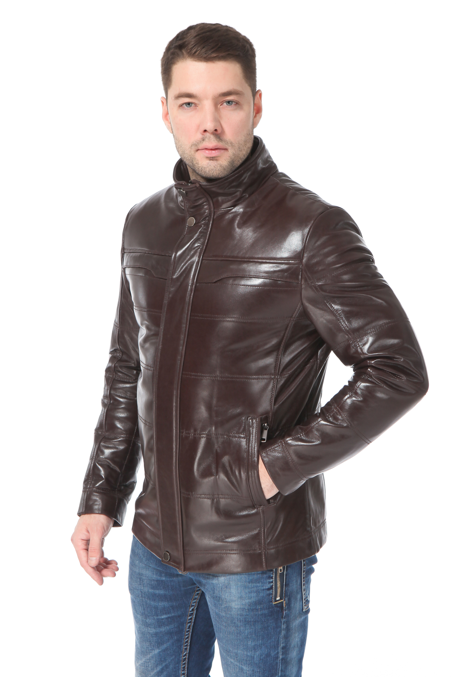 Мужская кожаная куртка из натуральной кожи утепленная<br><br>Воротник: стойка<br>Длина см: Короткая (51-74 )<br>Материал: Кожа овчина<br>Цвет: коричневый<br>Вид застежки: потайная<br>Застежка: на молнии<br>Пол: Мужской<br>Размер RU: 52