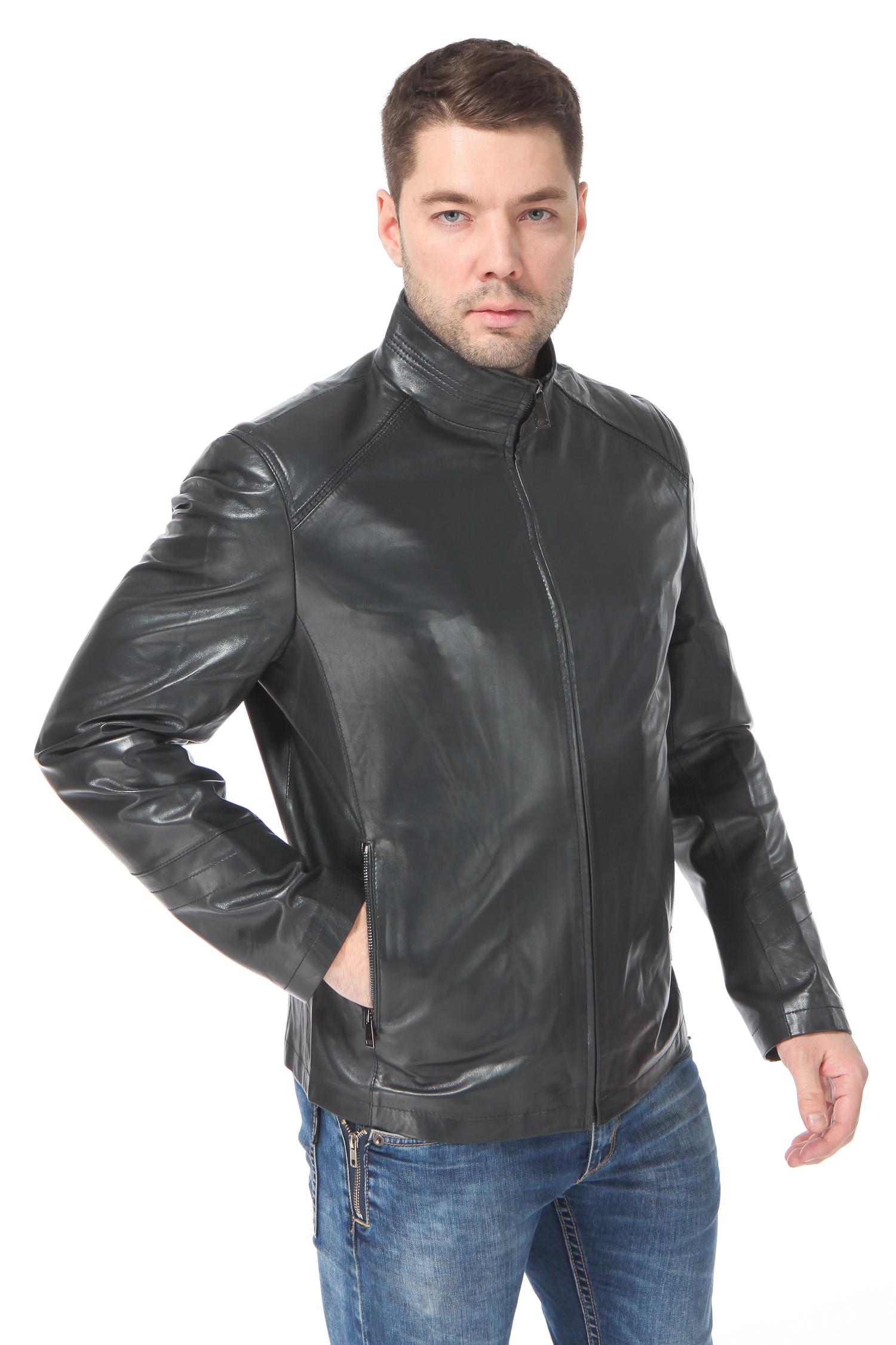 Мужская кожаная куртка из натуральной кожи<br><br>Воротник: стойка<br>Длина см: Короткая (51-74 )<br>Материал: Кожа овчина<br>Цвет: серый<br>Вид застежки: центральная<br>Застежка: на молнии<br>Пол: Мужской<br>Размер RU: 56
