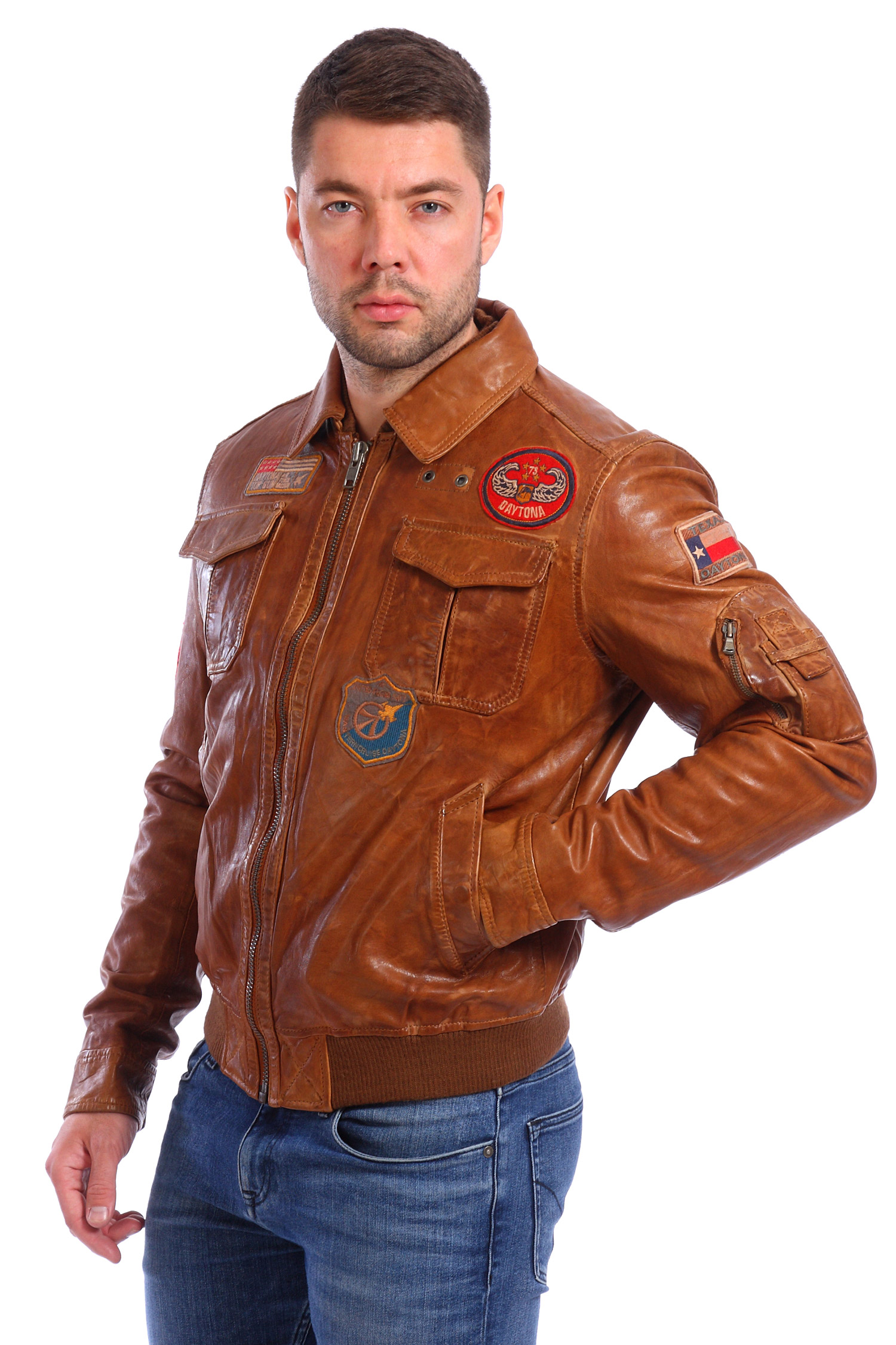 Мужская кожаная куртка из натуральной кожи с воротником, без отделки<br><br>Воротник: без воротника<br>Цвет: коричневый<br>Материал: Кожа овчина<br>Длина см: Короткая (51-74 )<br>Пол: Мужской<br>Размер RU: 56