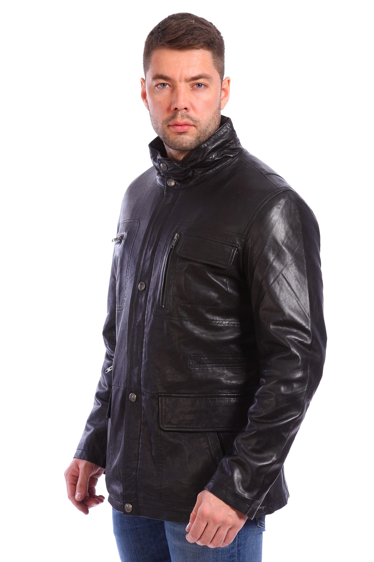 Мужская кожаная куртка из натуральной кожи утепленнаяКуртка от Московской меховой компании выполнена из натуральной кожи черного цвета.<br><br>Модель прямого кроя с застежкой на молнию и кнопки.<br><br>Детали: воротник-стойка; боковые карманы двух типов - прорезные без застежки, накладные без застежки; два нагрудных кармана на молнии; один без застежки; гладкая текстильная подкладка.<br><br>Воротник: стойка<br>Длина см: Средняя (75-89 )<br>Материал: Кожа овчина<br>Цвет: черный<br>Вид застежки: потайная<br>Застежка: на молнии<br>Пол: Мужской<br>Размер RU: 54