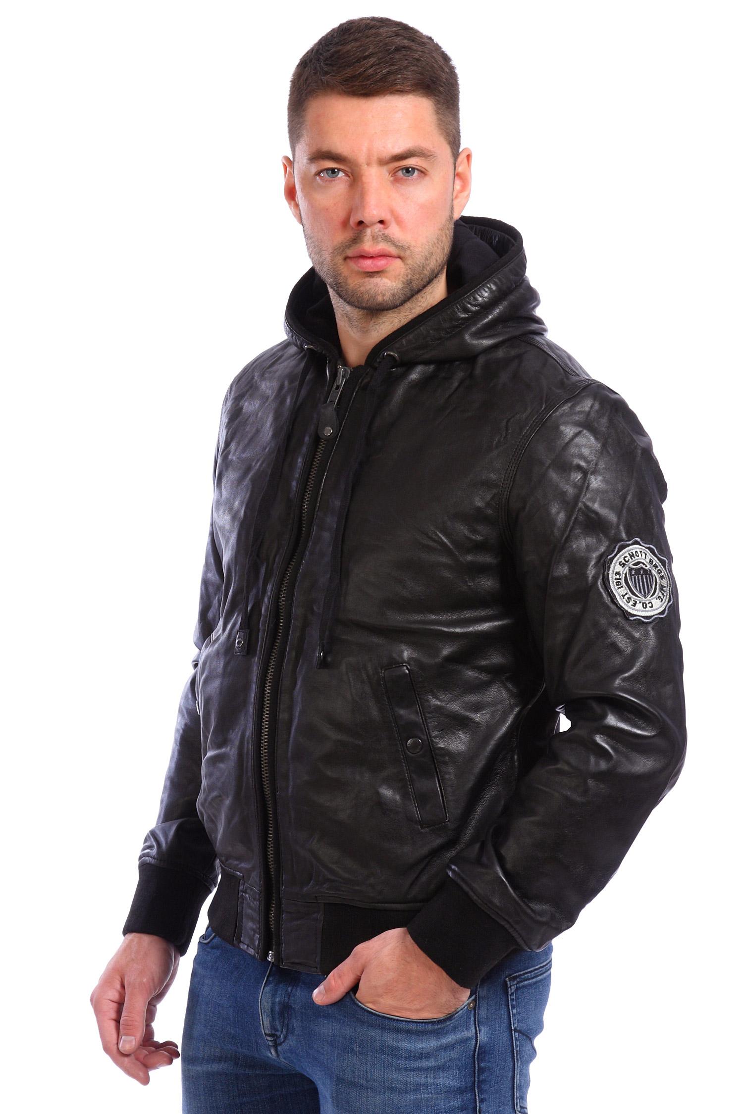 Мужская кожаная куртка из натуральной кожи утепленная с капюшоном, отделка текстиль<br><br>Воротник: капюшон<br>Длина см: Короткая (51-74 )<br>Материал: Кожа овчина<br>Цвет: черный<br>Вид застежки: центральная<br>Застежка: на молнии<br>Пол: Мужской<br>Размер RU: 50