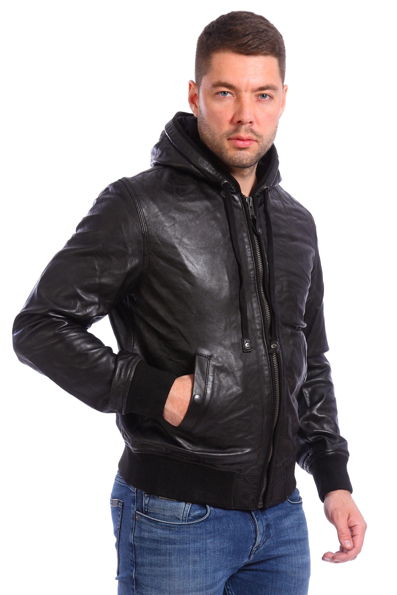 Куртка мужская кожа капюшон