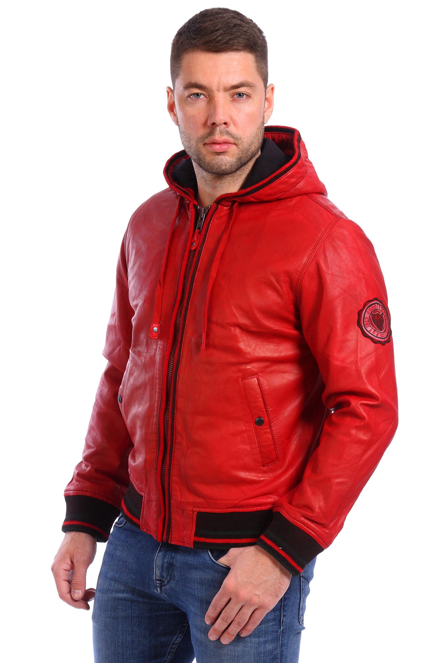 Мужская кожаная куртка из натуральной кожи утепленная с капюшоном, отделка текстиль