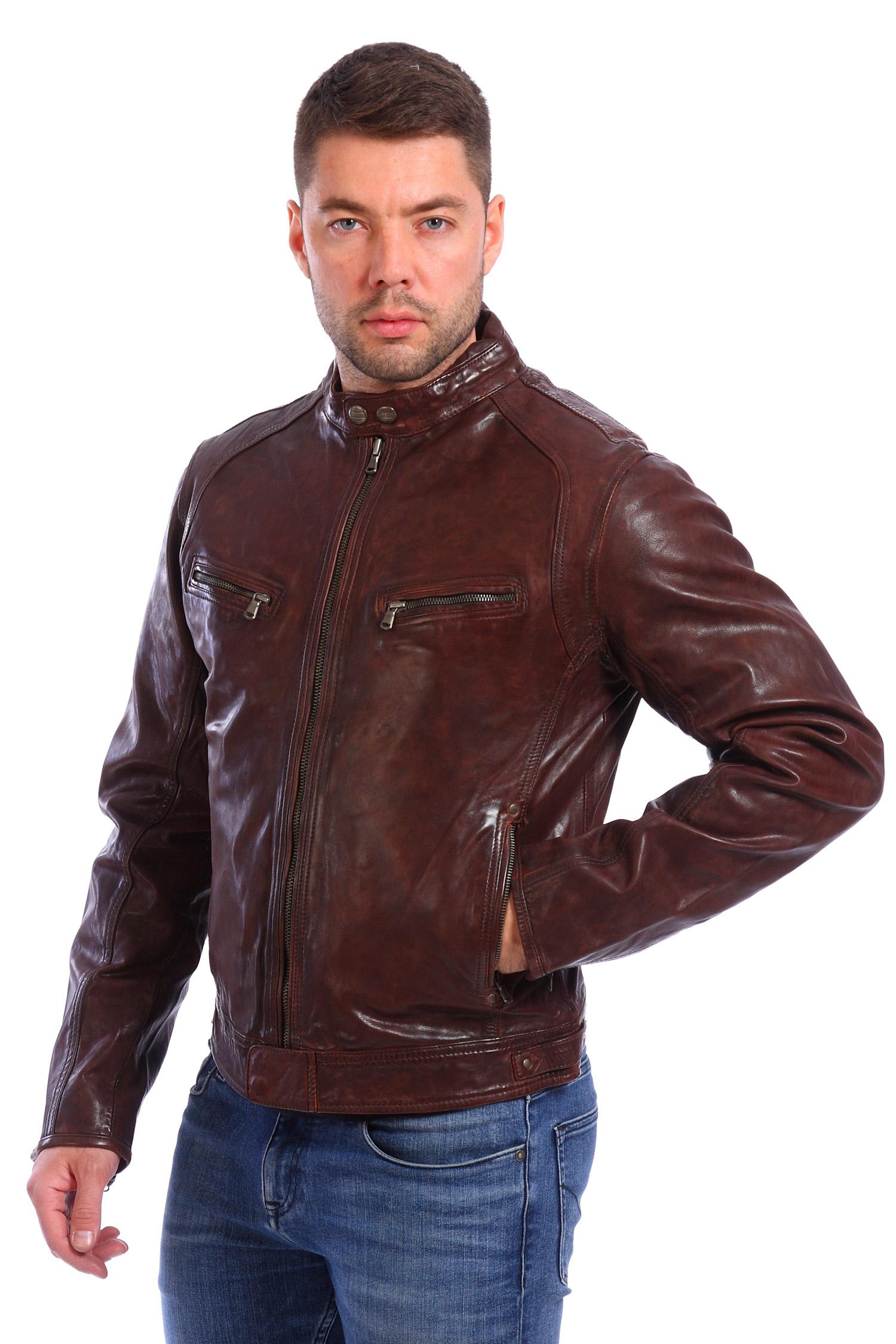 Мужская кожаная куртка из натуральной кожи с воротником, без отделки<br><br>Материал: Натуральная кожа<br>Цвет: Темно-коричневый<br>Воротник: Стойка<br>Длина см: 60<br>Пол: Мужской<br>Размер RU: 52