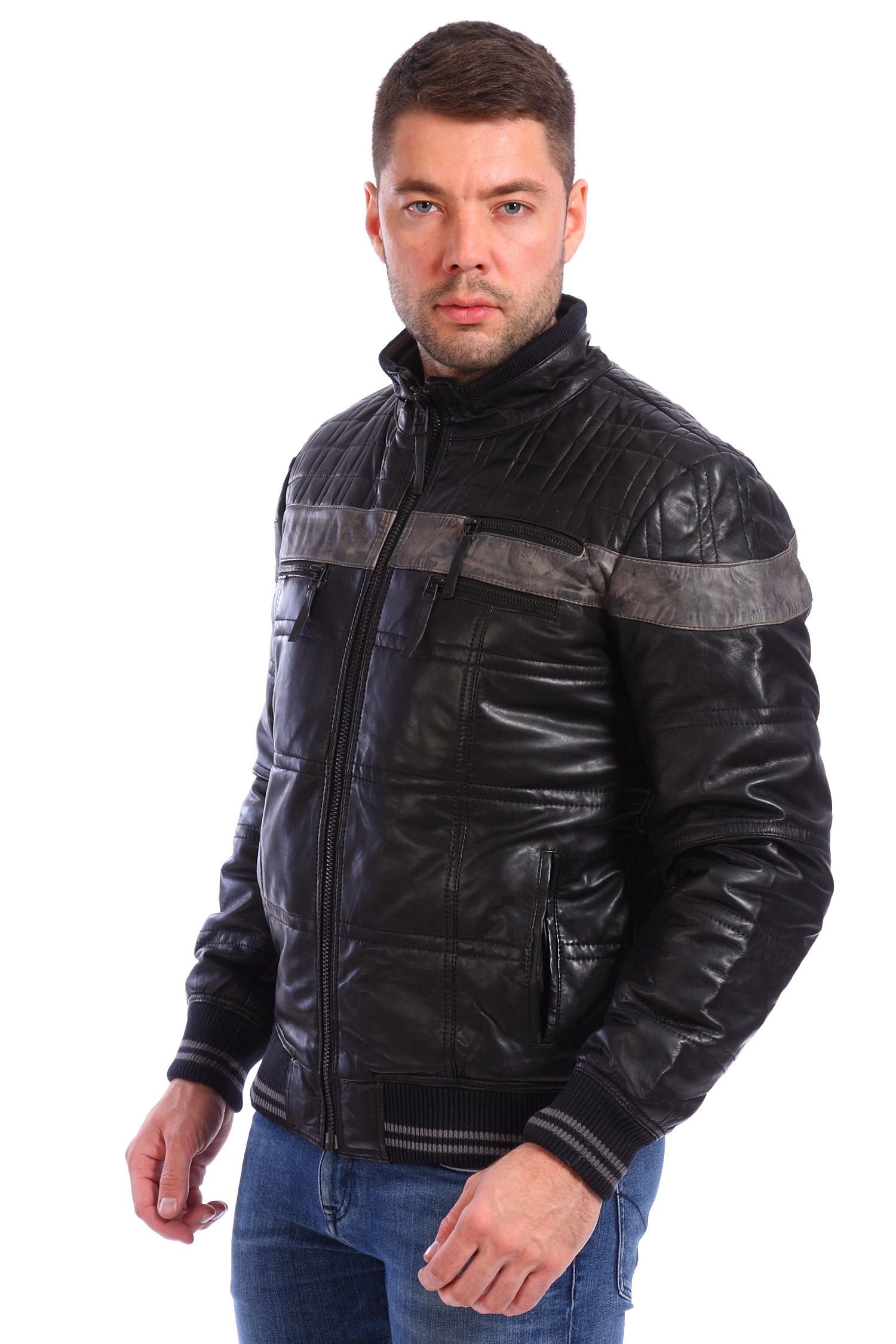 Мужская кожаная куртка из натуральной кожи утепленная<br><br>Воротник: стойка<br>Длина см: Короткая (51-74 )<br>Материал: Кожа овчина<br>Цвет: черный<br>Застежка: на молнии<br>Пол: Мужской<br>Размер RU: 56