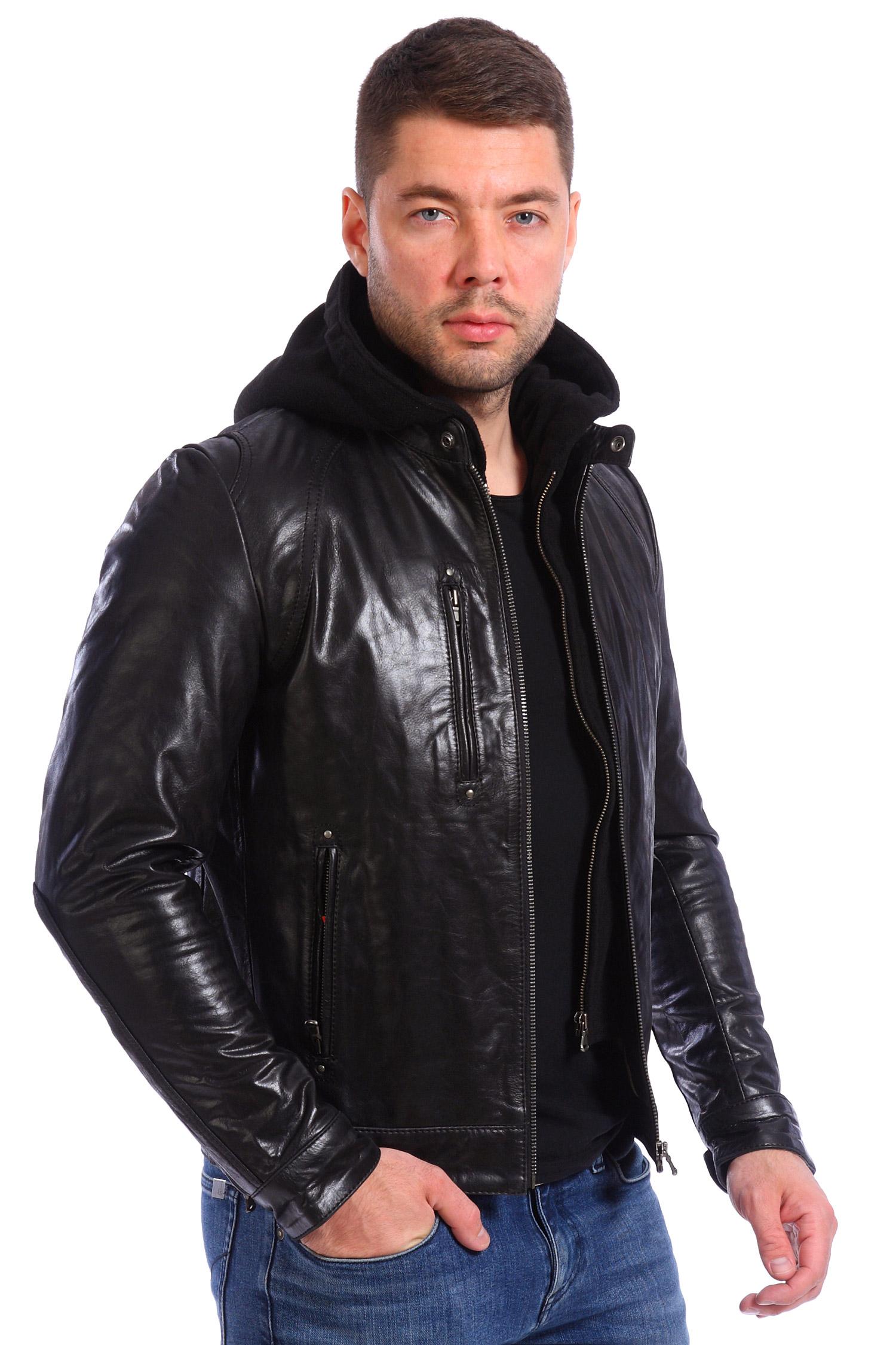 Мужская кожаная куртка из натуральной кожи с капюшоном