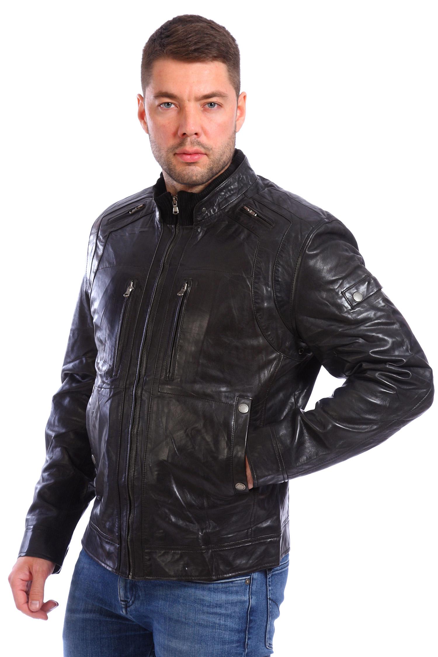 Мужская кожаная куртка из натуральной кожи утепленнаяЦвет - оникс (черный).<br><br>Кожаная куртка цвета оникс - это основа стиля casual. Благодаря лаконичному крою куртка хорошо сочетается и с джинсами, и с брюками.<br><br>Модель застегивается на молнию. Для комфорта в отделке воротника используется текстиль. Манжеты регулируется молнией и фиксируются кнопками.<br><br>Благодаря множеству карманов и декоративной отделке, куртка смотрится по-байкерски брутально.<br><br>Воротник: стойка<br>Длина см: Короткая (51-74 )<br>Материал: Кожа овчина<br>Цвет: черный<br>Застежка: на молнии<br>Пол: Мужской<br>Размер RU: 58