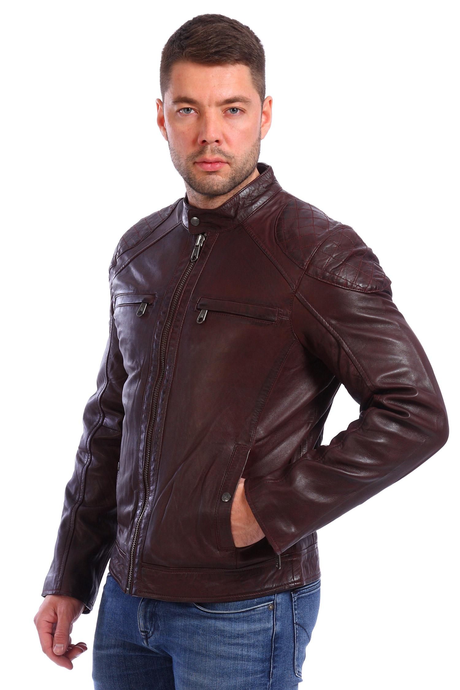 Мужская кожаная куртка из натуральной кожи<br><br>Воротник: стойка<br>Материал: Кожа овчина<br>Цвет: коричневый<br>Пол: Мужской<br>Размер RU: 58