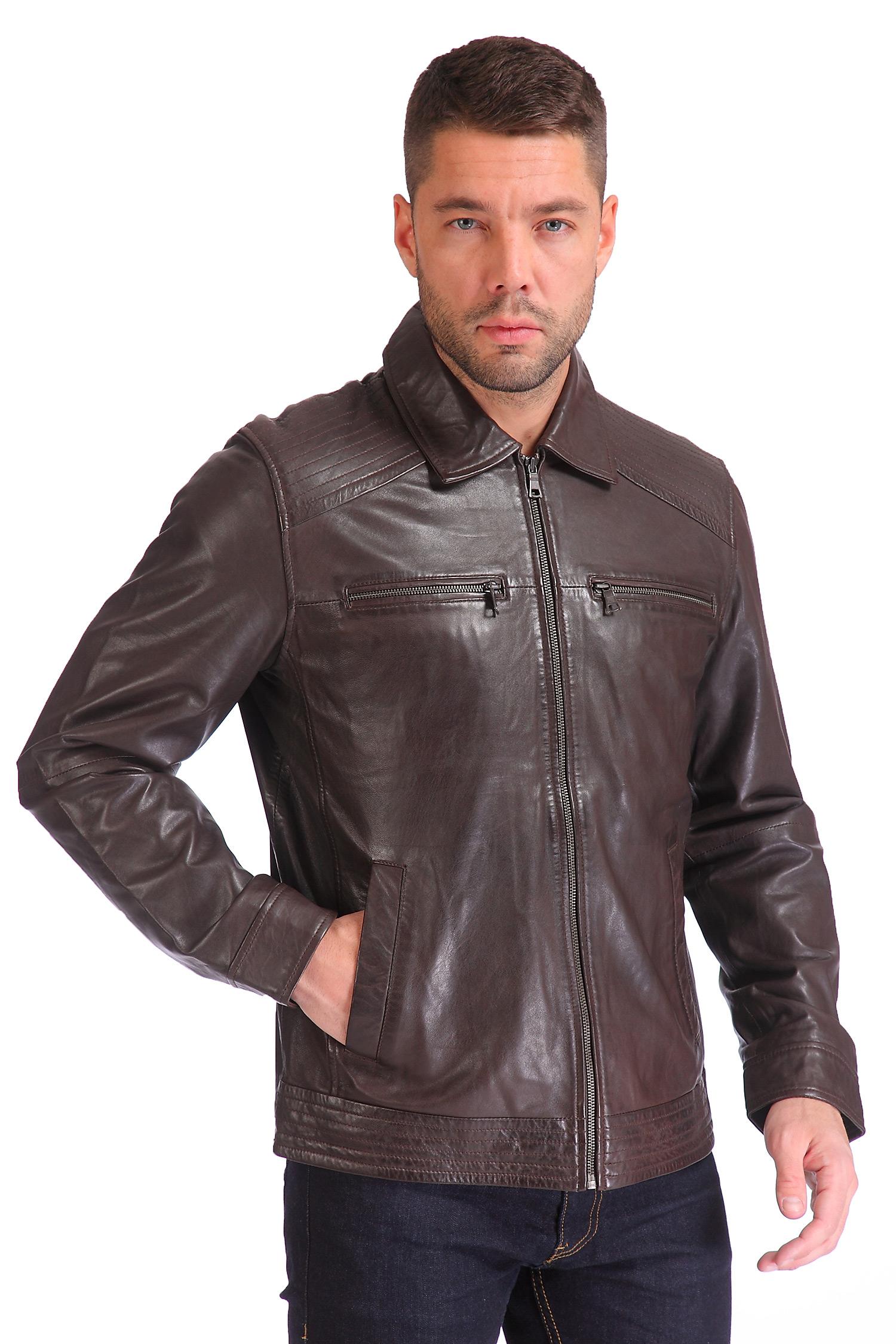 Мужская кожаная куртка из натуральной кожи<br><br>Воротник: отложной<br>Длина см: Короткая (51-74 )<br>Материал: Кожа овчина<br>Цвет: коричневый<br>Вид застежки: центральная<br>Застежка: на молнии<br>Пол: Мужской<br>Размер RU: 52