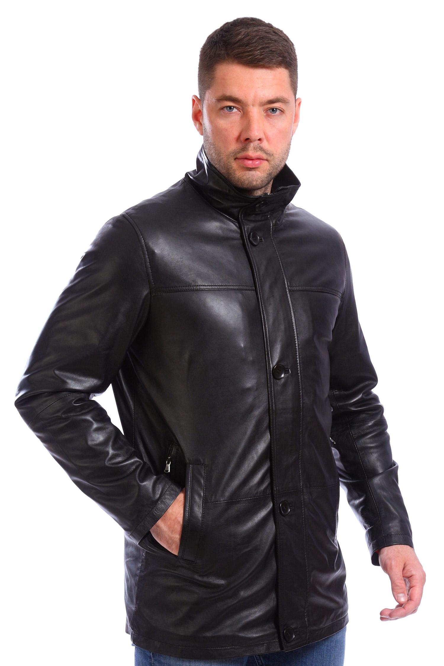 Мужская кожаная куртка из натуральной кожи<br><br>Воротник: стойка<br>Длина см: Средняя (75-89 )<br>Материал: Кожа овчина<br>Цвет: черный<br>Пол: Мужской<br>Размер RU: 58
