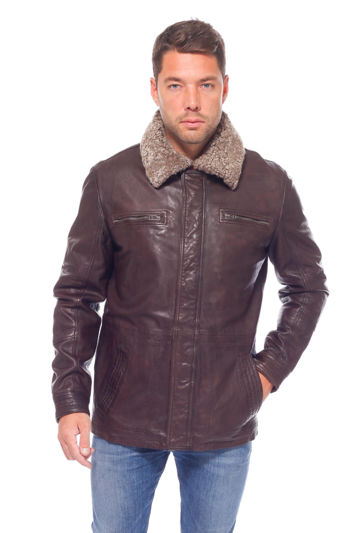 Мужская кожаная куртка из натуральной кожи утепленная, отделка овчина