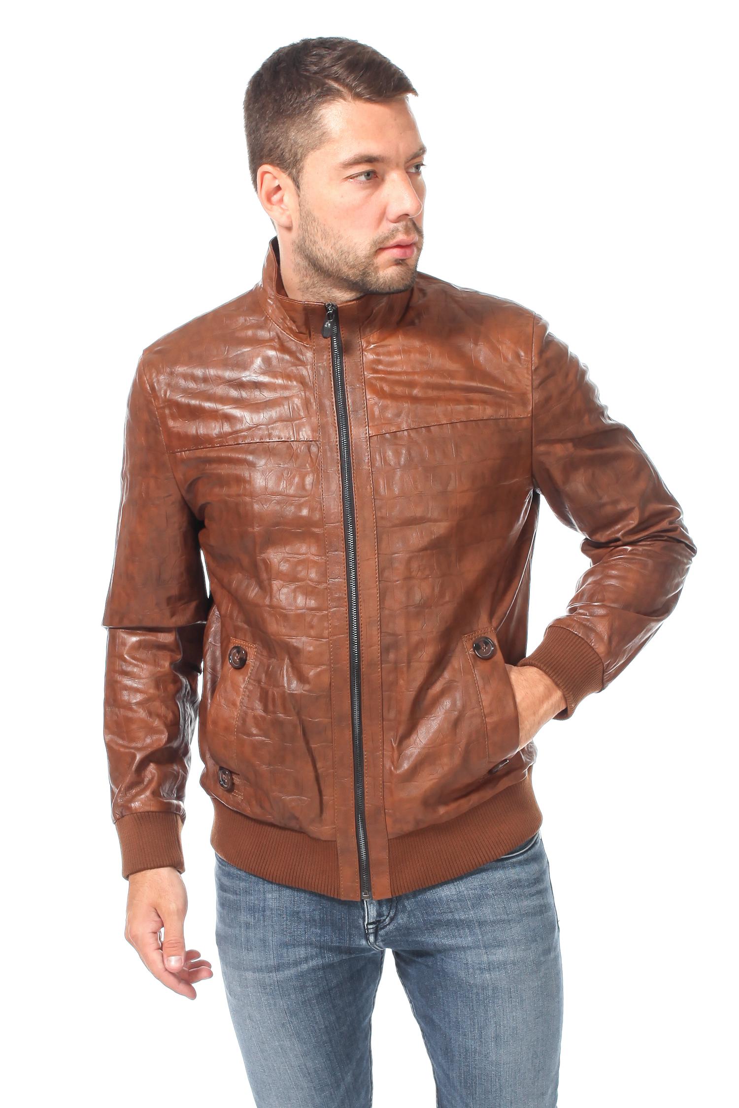 Мужская кожаная куртка из натуральной кожи<br><br>Воротник: стойка<br>Длина см: Короткая (51-74 )<br>Материал: Кожа овчина<br>Цвет: коричневый<br>Вид застежки: центральная<br>Застежка: на молнии<br>Пол: Мужской<br>Размер RU: 50