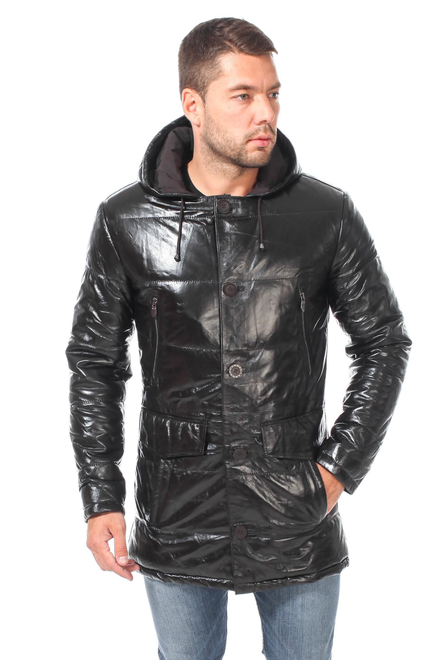 Мужская кожаная куртка из натуральной кожи с капюшоном, без отделки