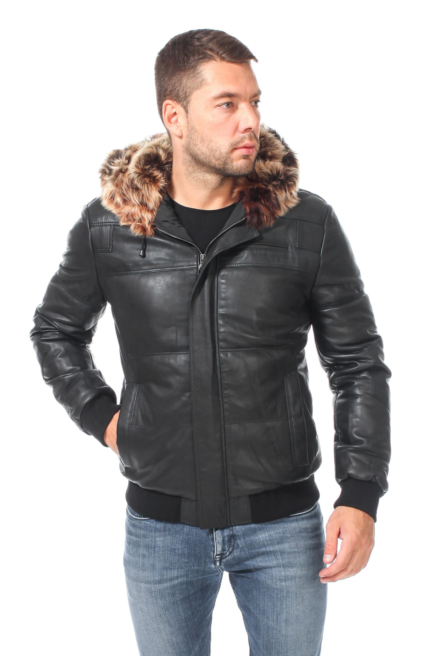 Мужская кожаная куртка из натуральной кожи с капюшоном, отделка тоскана<br><br>Воротник: капюшон<br>Длина см: Короткая (51-74 )<br>Материал: Кожа овчина<br>Цвет: черный<br>Вид застежки: потайная<br>Застежка: на молнии<br>Пол: Мужской<br>Размер RU: 48