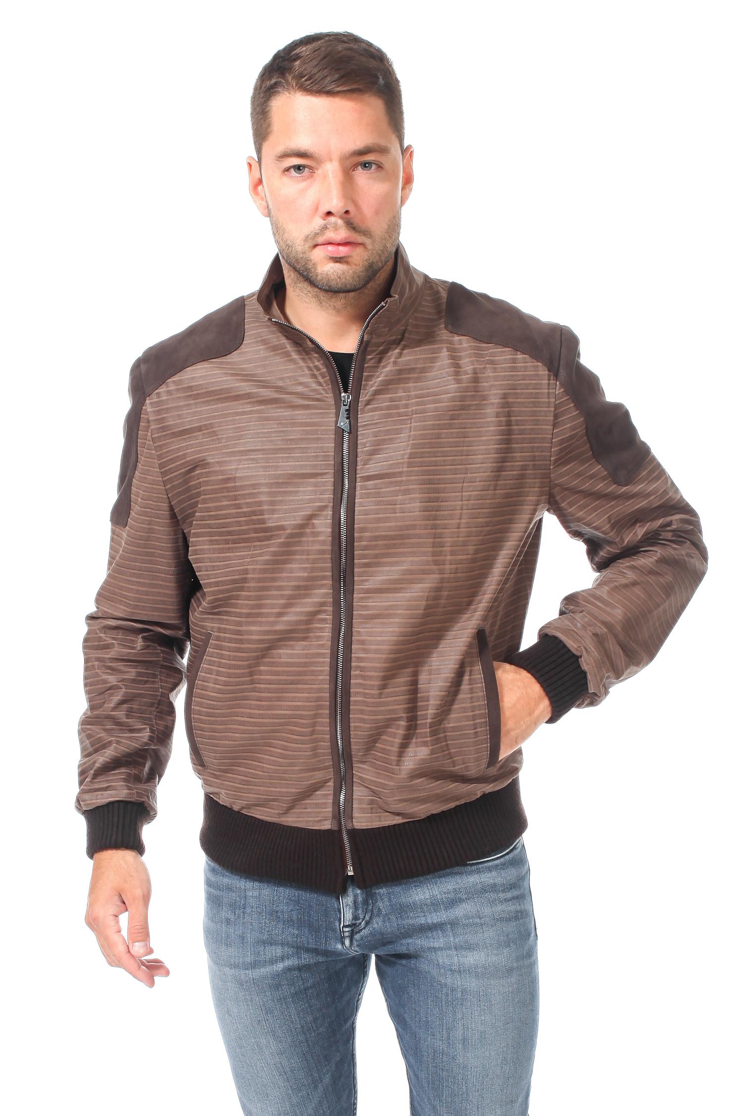 Мужская кожаная куртка из натуральной кожи с воротником, без отделки<br><br>Воротник: Стойка<br>Длина см: 70<br>Материал: Кожа<br>Цвет: Бежевый<br>Пол: Мужской