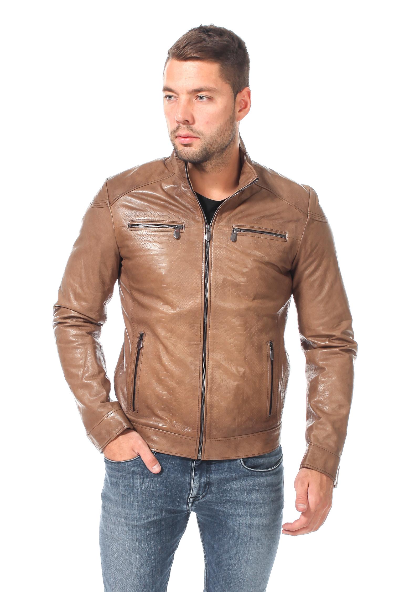 Мужская кожаная куртка из натуральной кожи с воротником, без отделки<br><br>Воротник: Стойка<br>Длина см: 70<br>Материал: Кожа<br>Цвет: Коричневый<br>Пол: Мужской
