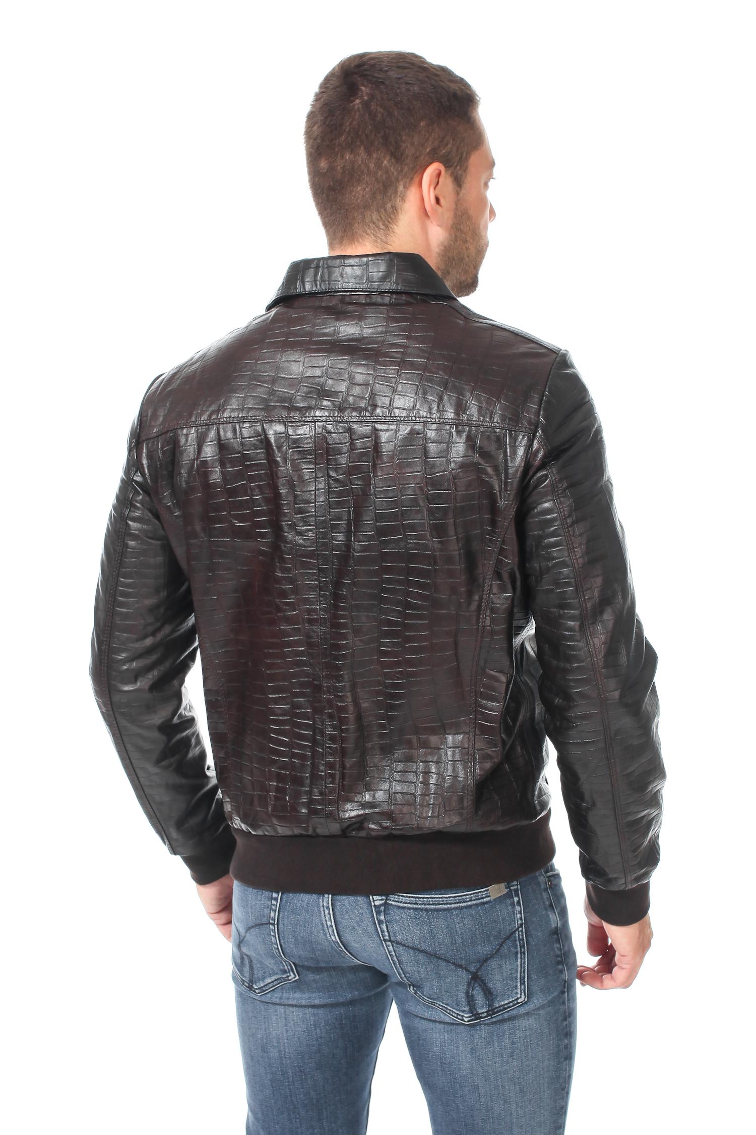 Мужская кожаная куртка из натуральной кожи с воротником, без отделки от Московская Меховая Компания