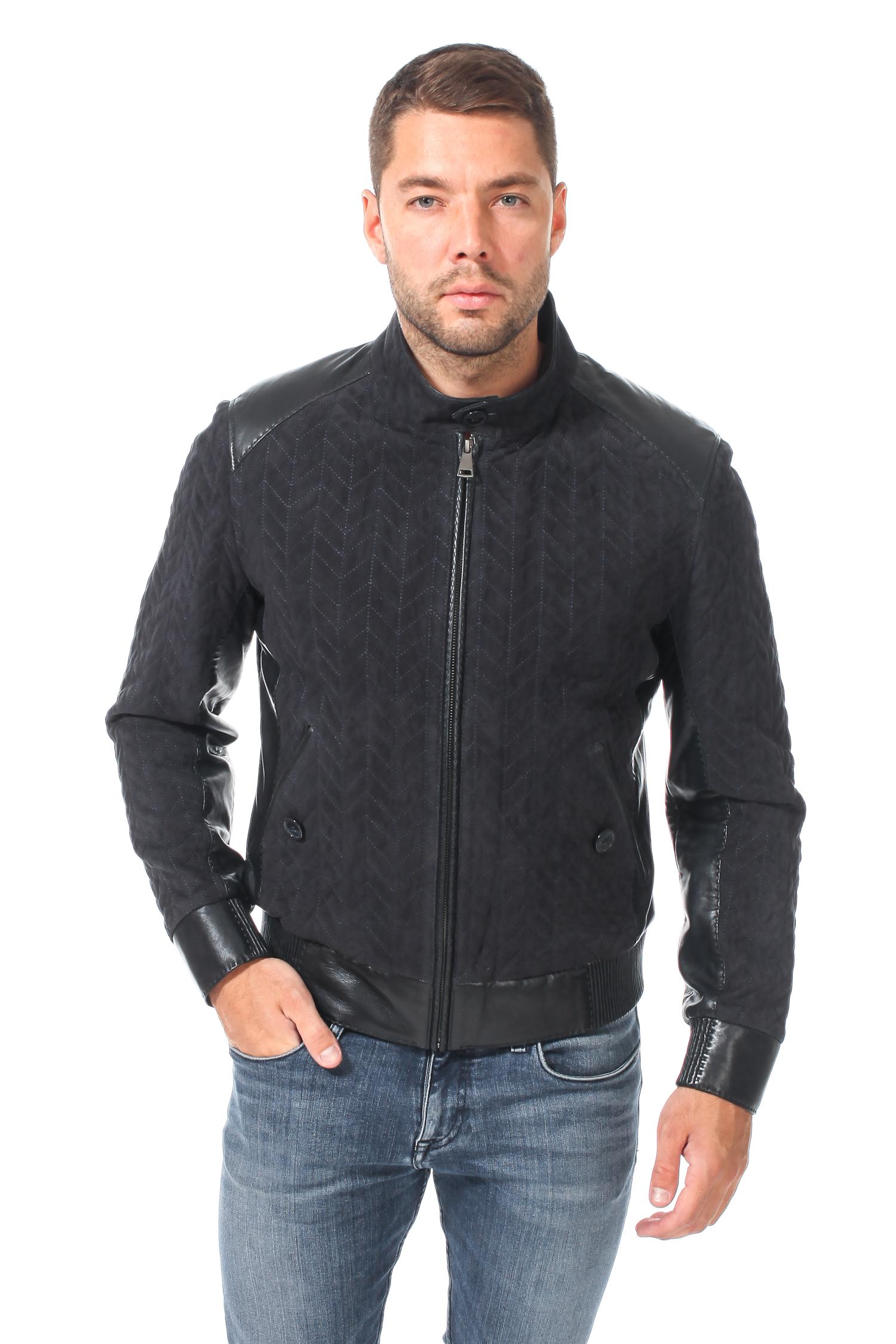 Мужская кожаная куртка из натуральной замши утепленная, отделка кожа