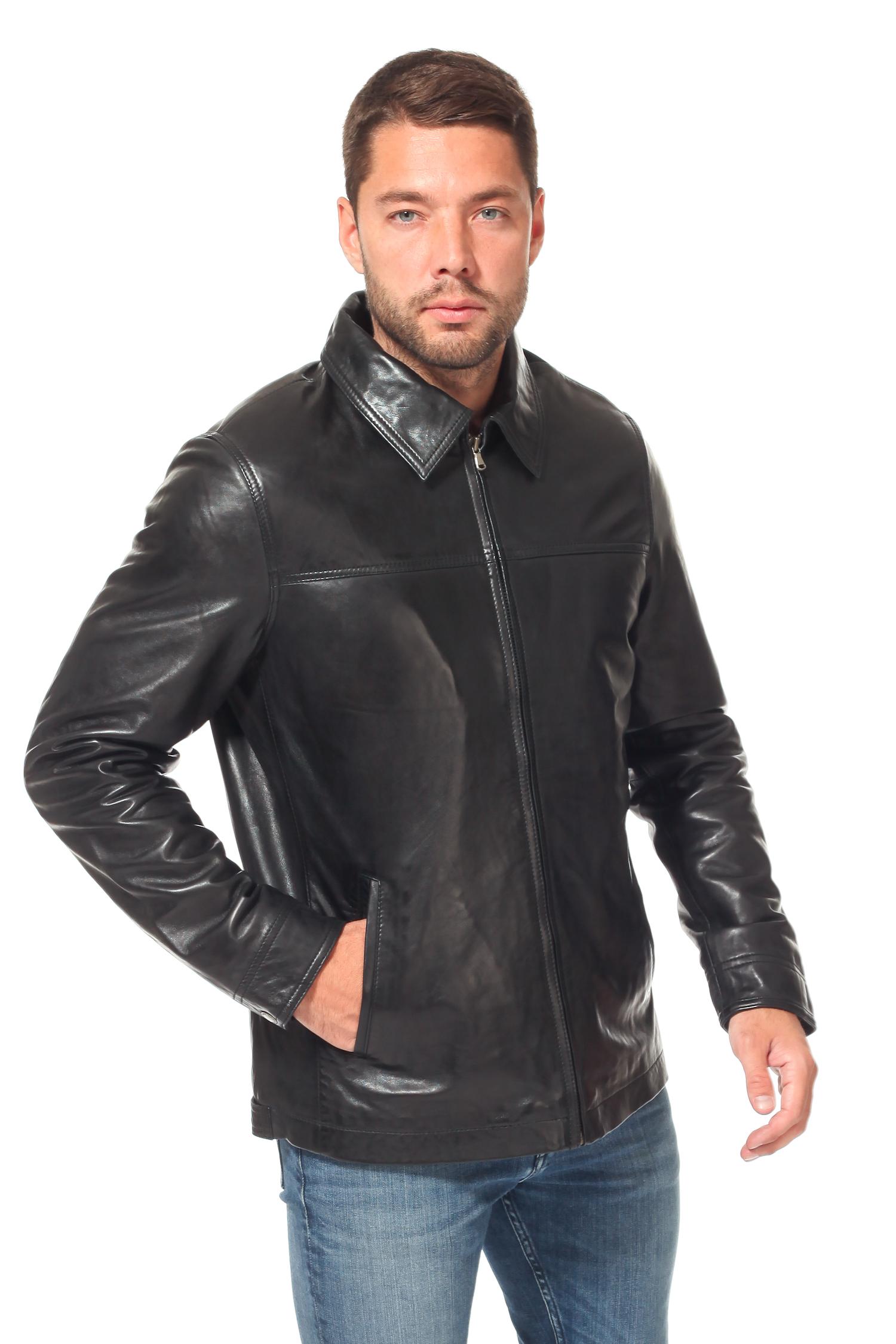 Мужская кожаная куртка из натуральной кожи<br><br>Воротник: отложной<br>Длина см: Короткая (51-74 )<br>Материал: Кожа овчина<br>Цвет: черный<br>Вид застежки: центральная<br>Застежка: на молнии<br>Пол: Мужской<br>Размер RU: 56
