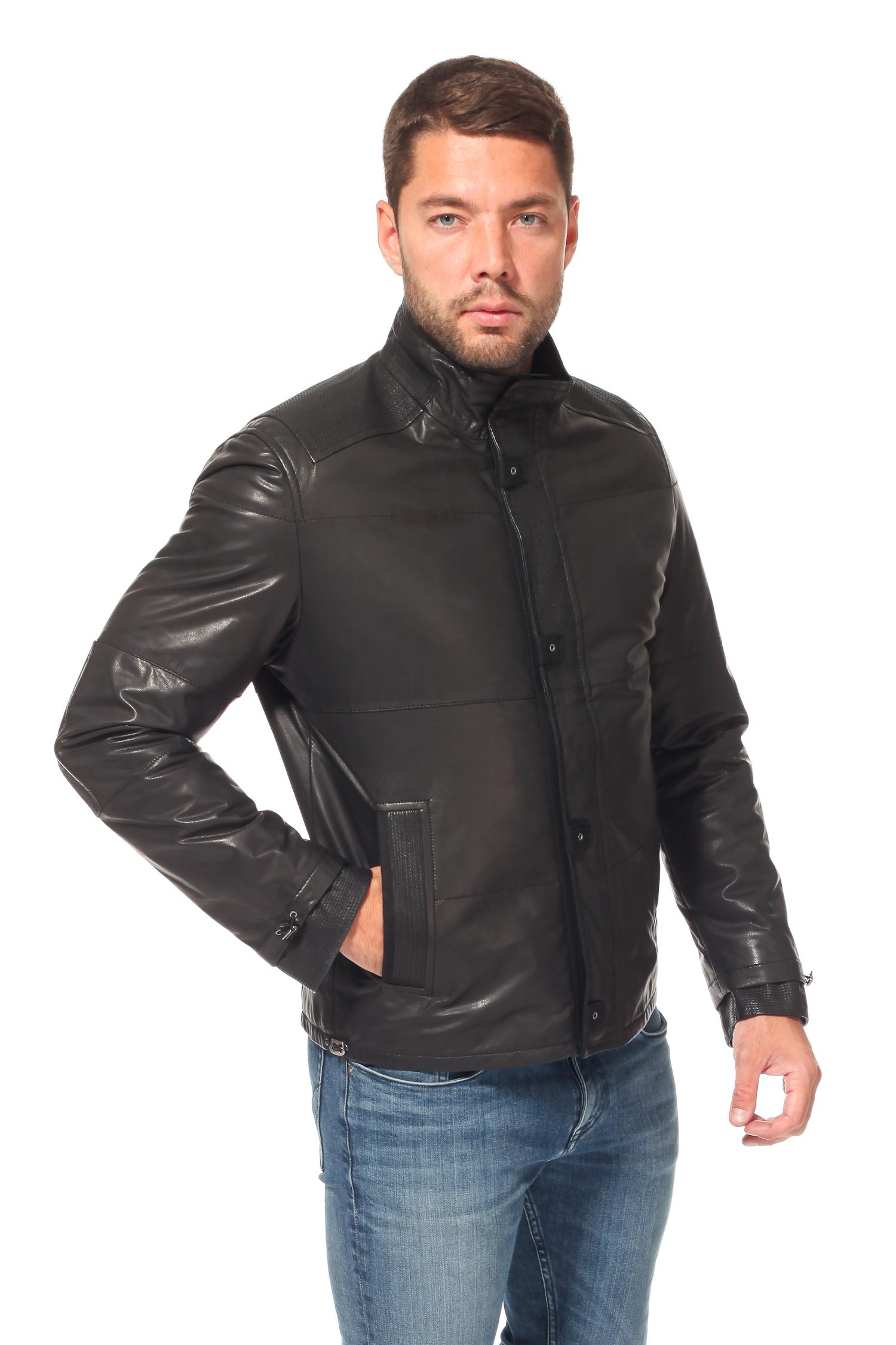 Мужская кожаная куртка из натуральной кожи<br><br>Воротник: стойка<br>Длина см: Короткая (51-74 )<br>Материал: Кожа овчина<br>Цвет: черный<br>Пол: Мужской<br>Размер RU: 60