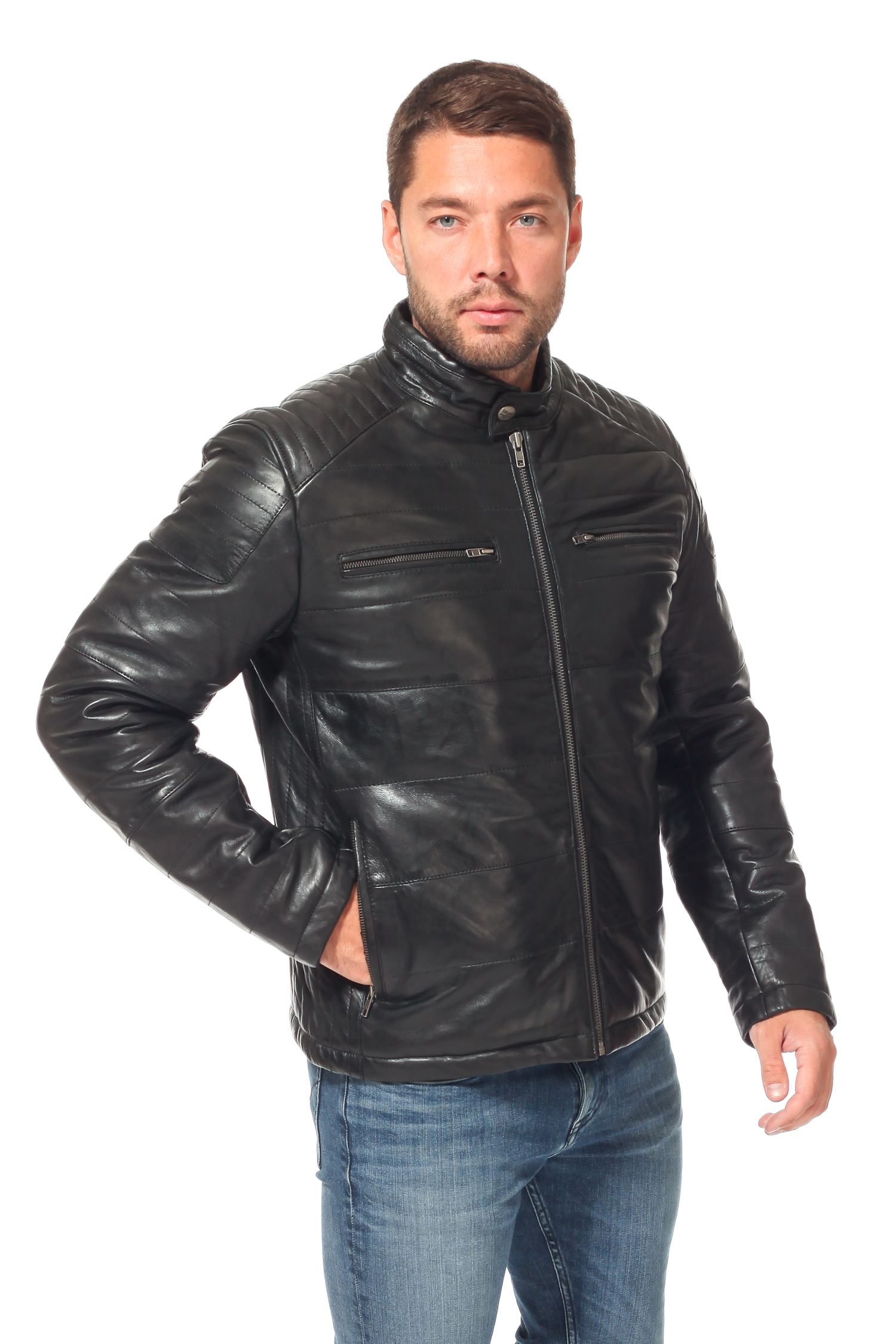 Мужская кожаная куртка из натуральной кожи утепленная
